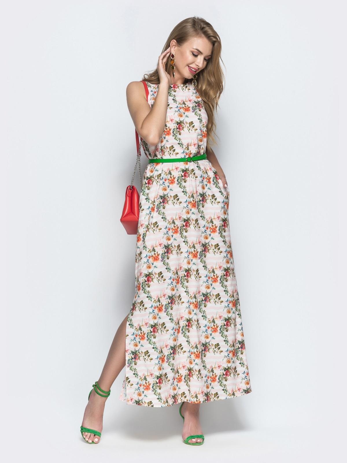 Платье из хлопка с цветочным принтом бежевое - 39209, фото 1 – интернет-магазин Dressa