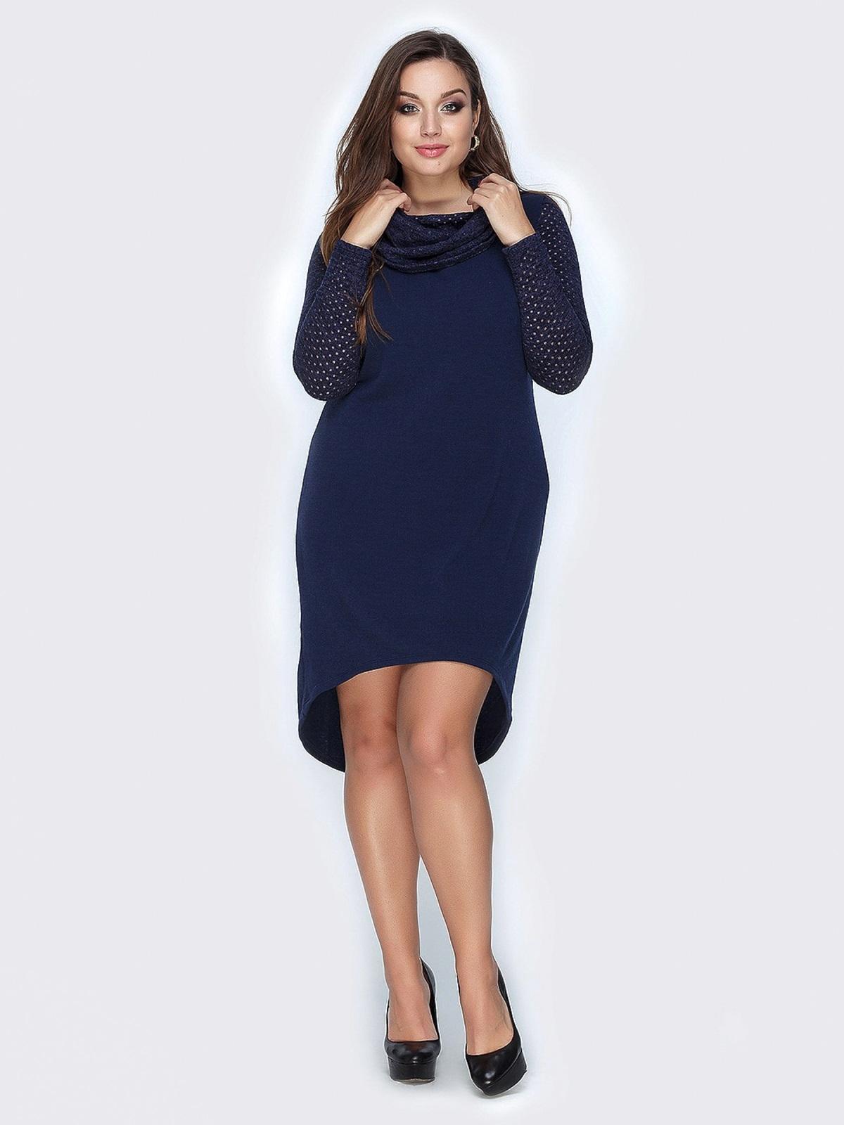 Тёмно-синее платье из ангоры с удлиненной спинкой - 19161, фото 1 – интернет-магазин Dressa