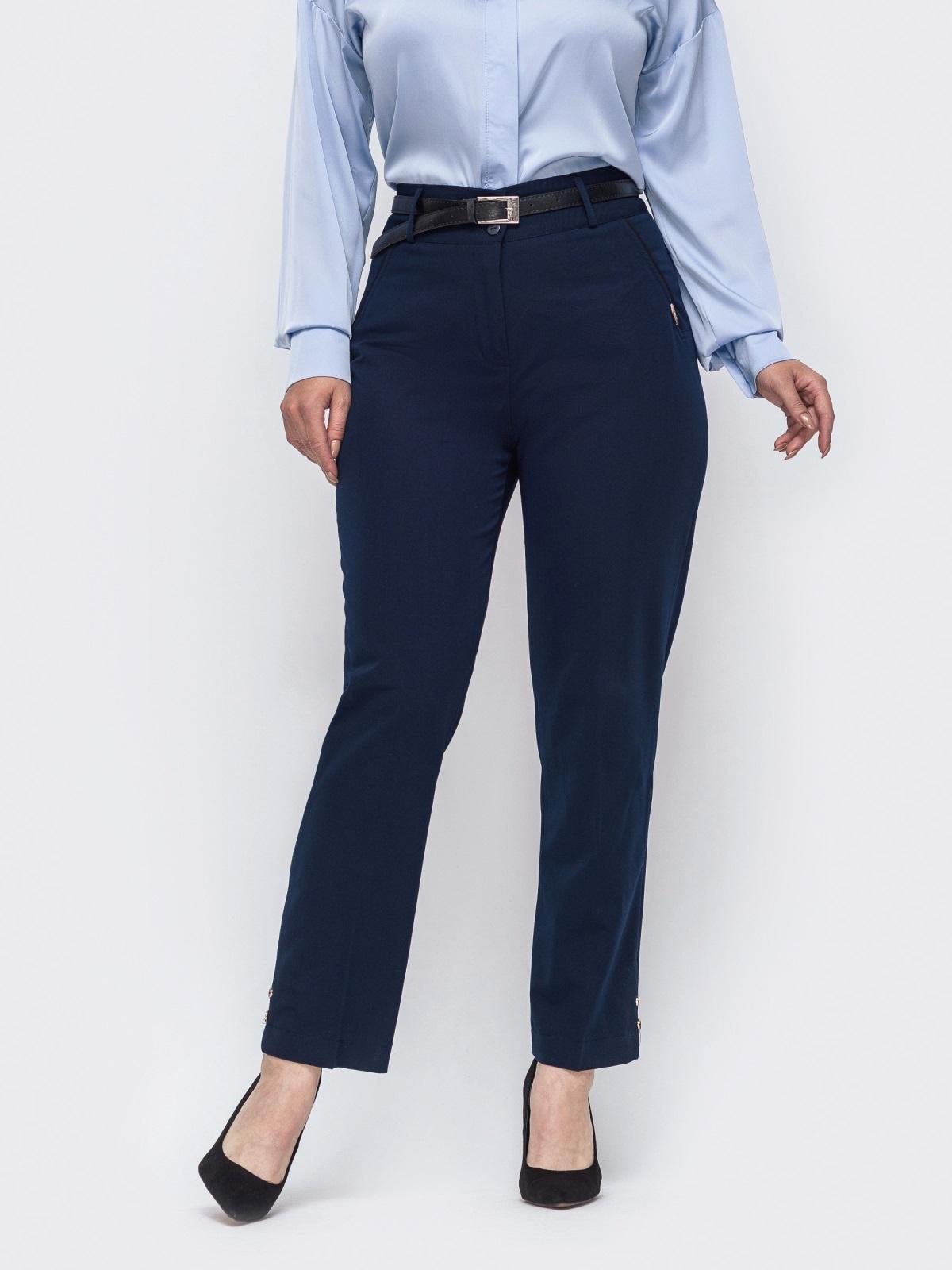 Зауженные брюки большого размера тёмно-синие 50913, фото 1