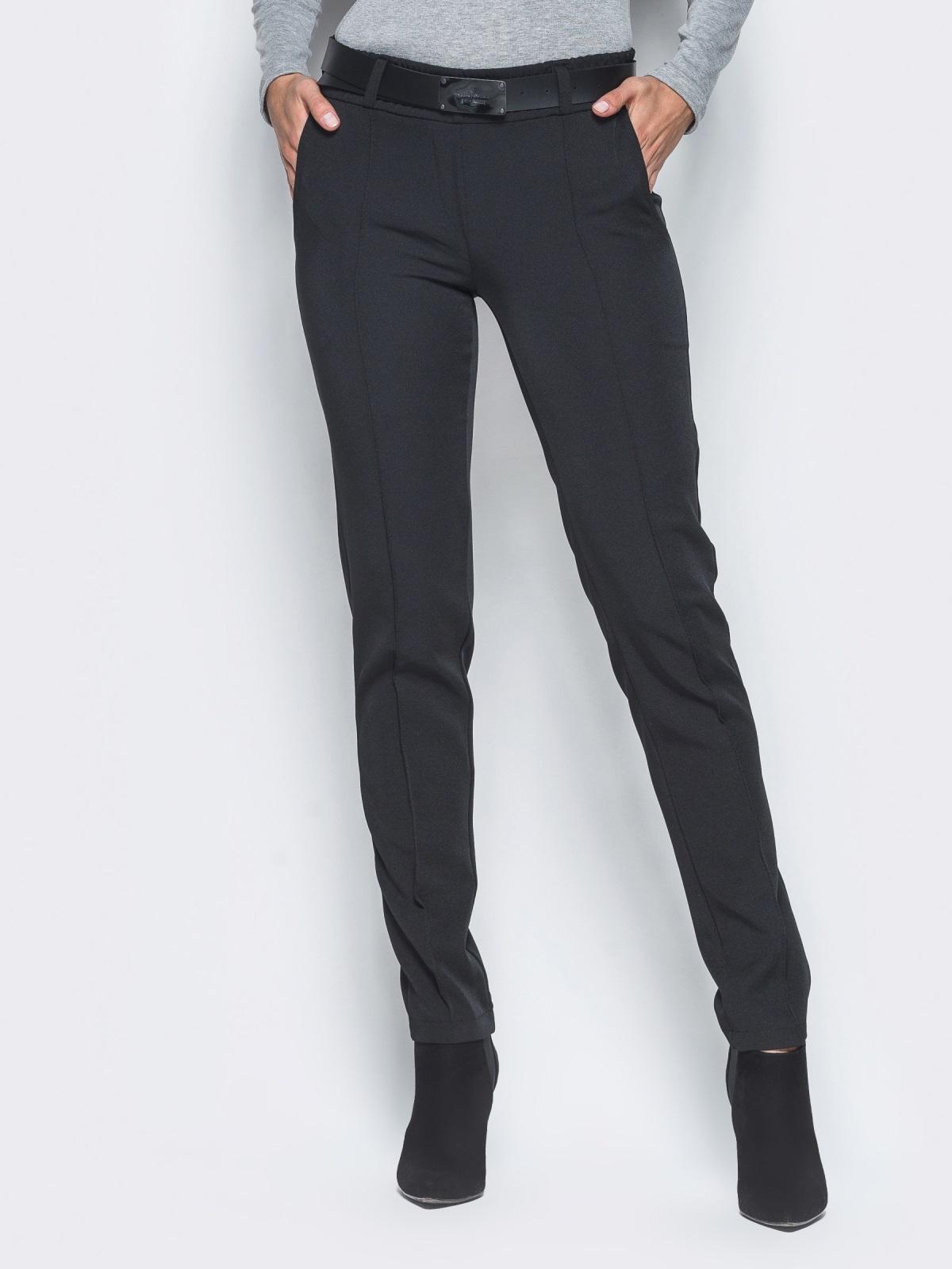 Черные брюки с отстроченными стрелками - 15722, фото 1 – интернет-магазин Dressa