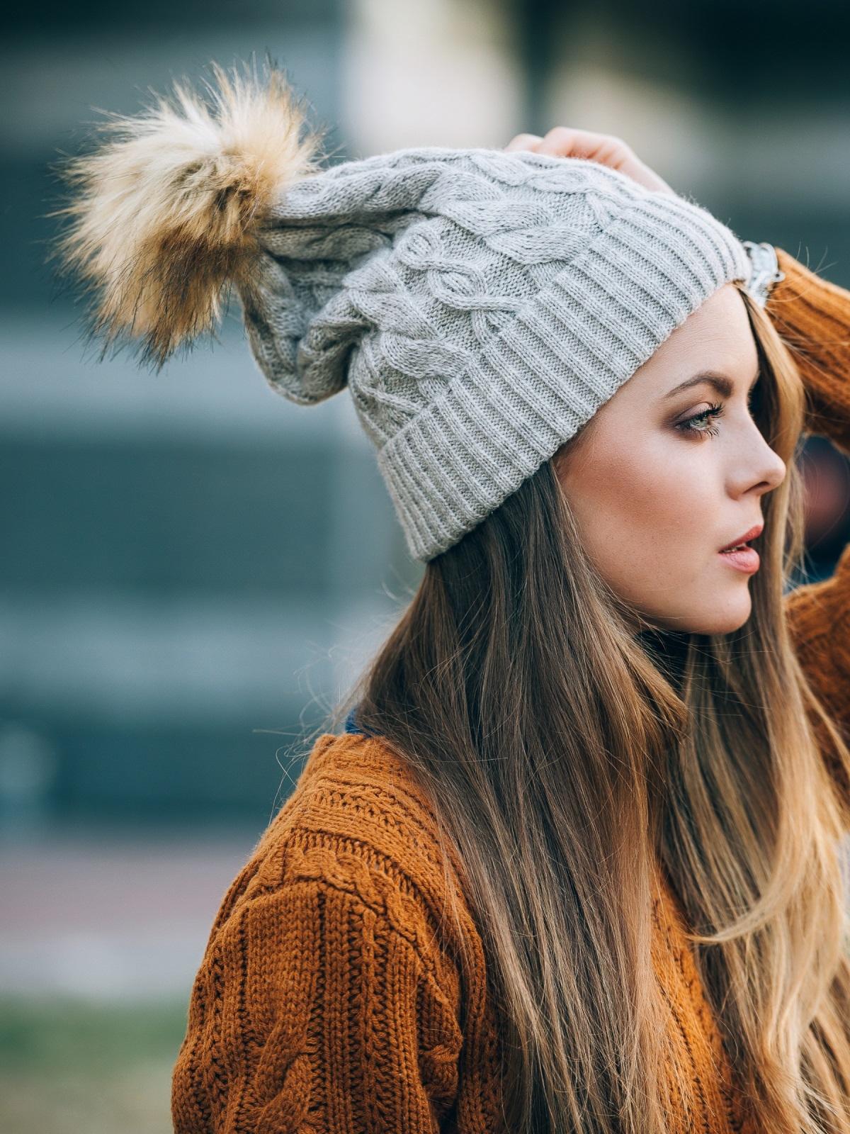 """Светло-бежевая шапка с узорами """"ромбы"""" и """"косы"""" - 14785, фото 1 – интернет-магазин Dressa"""