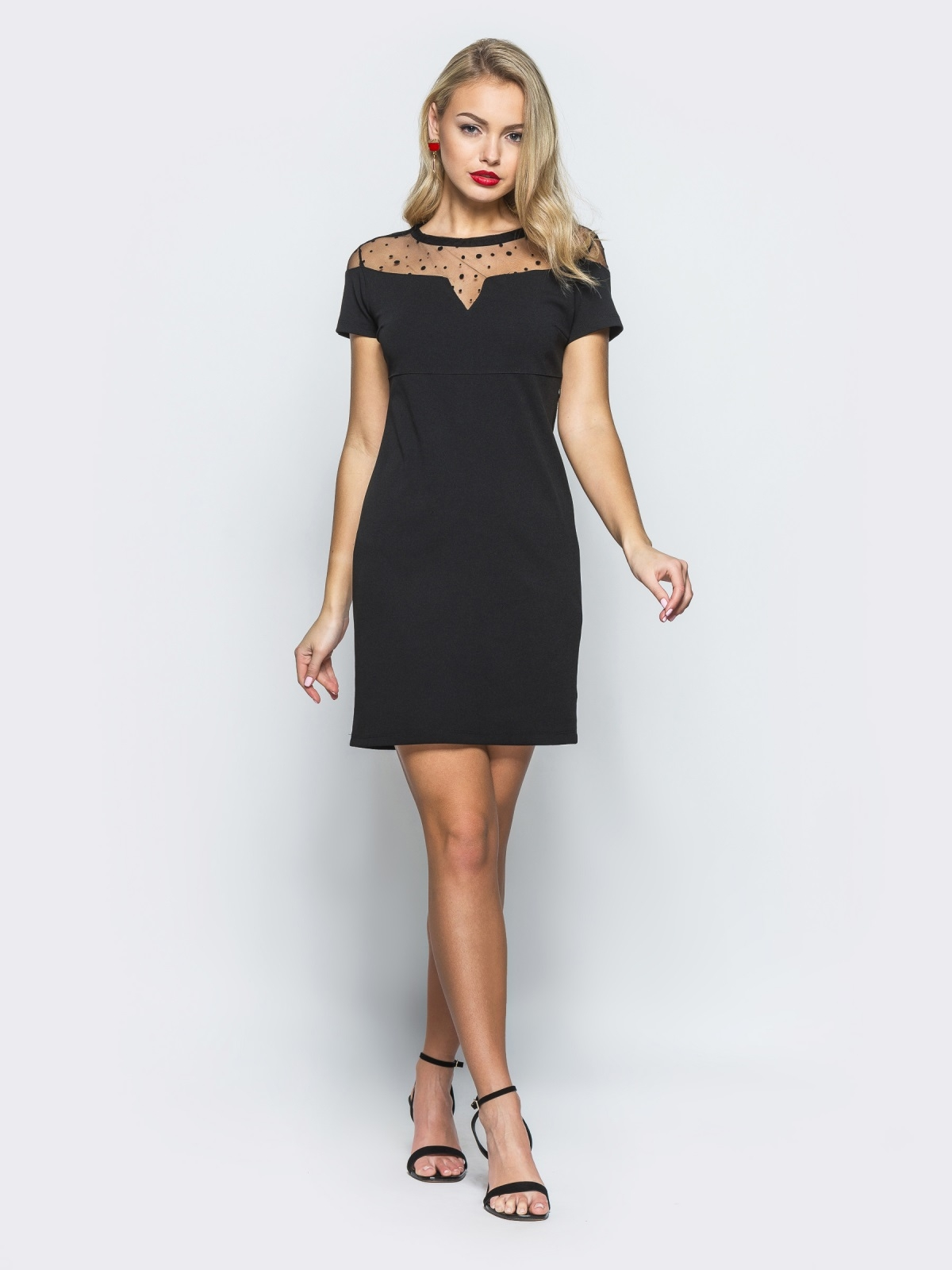 Платье с сеткой в горох черное - 12462, фото 1 – интернет-магазин Dressa