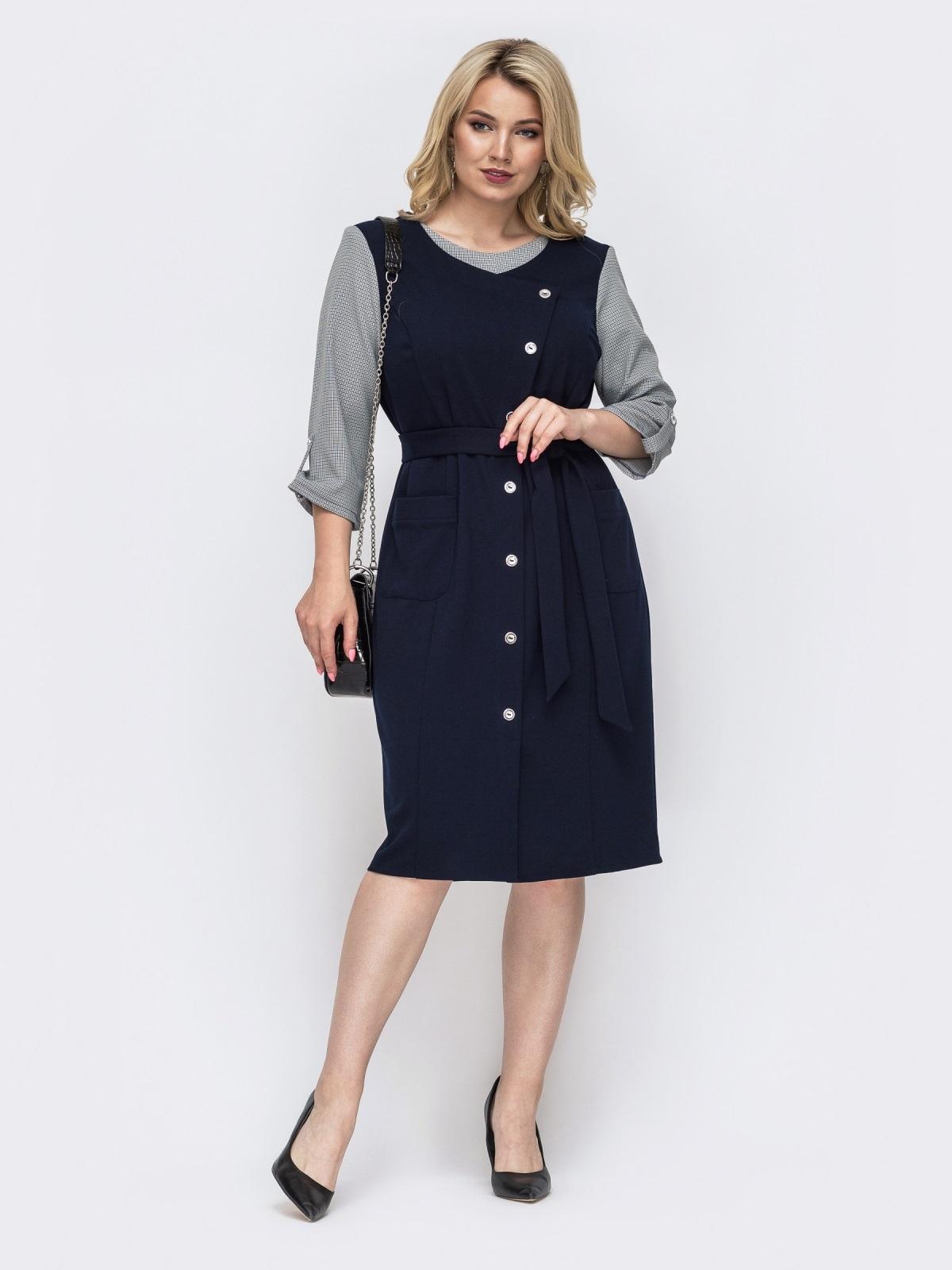 Тёмно-синее платье батал с контрастными рукавами 49819, фото 1