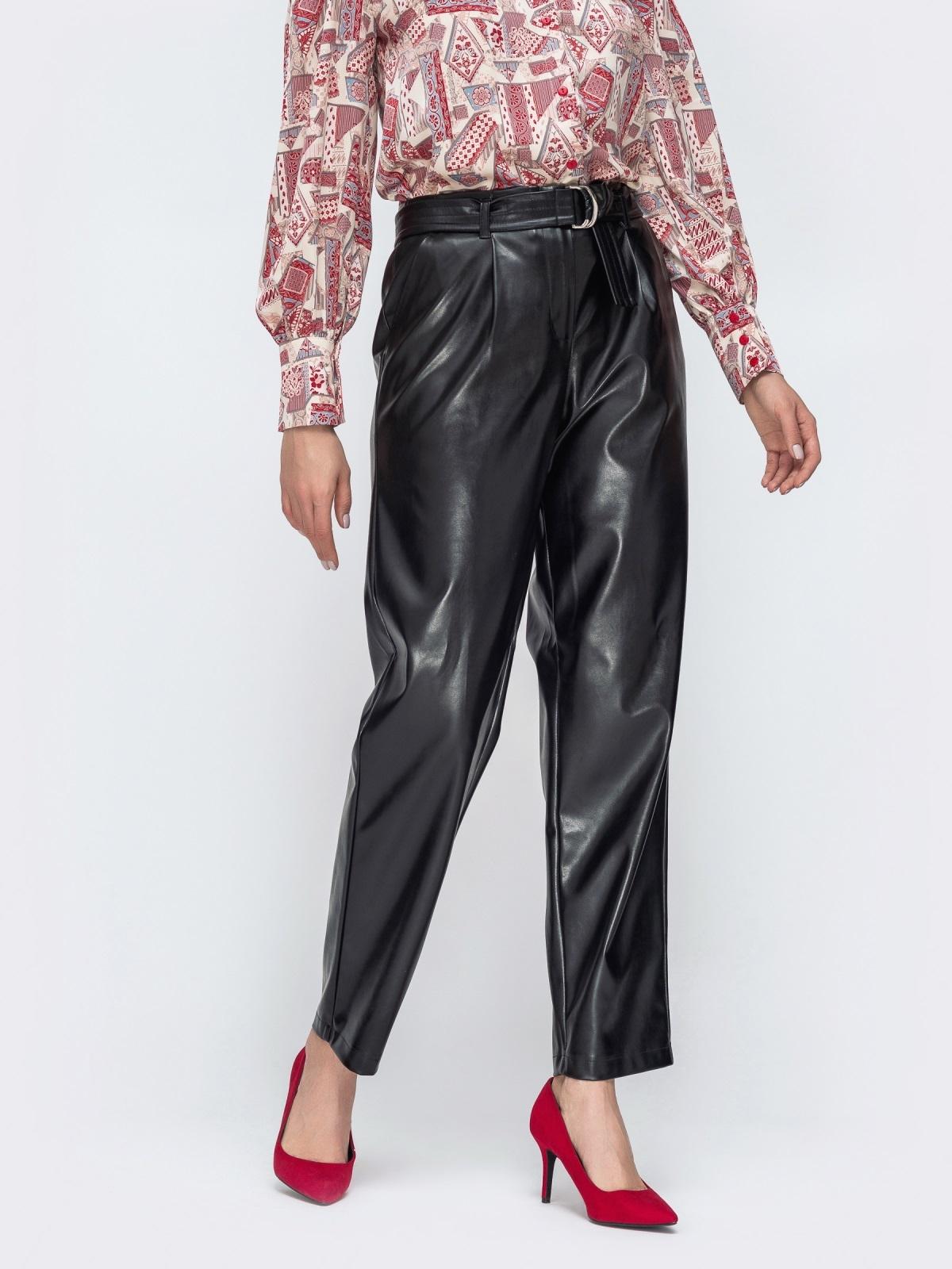 Прямые брюки из эко-кожи с высокой посадкой - 45044, фото 1 – интернет-магазин Dressa
