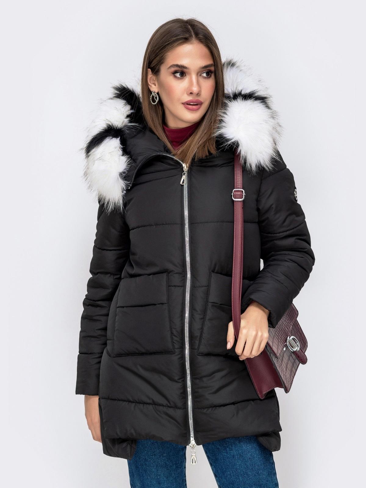 Зимняя куртка с удлиненной спинкой и капюшоном чёрная - 41519, фото 1 – интернет-магазин Dressa