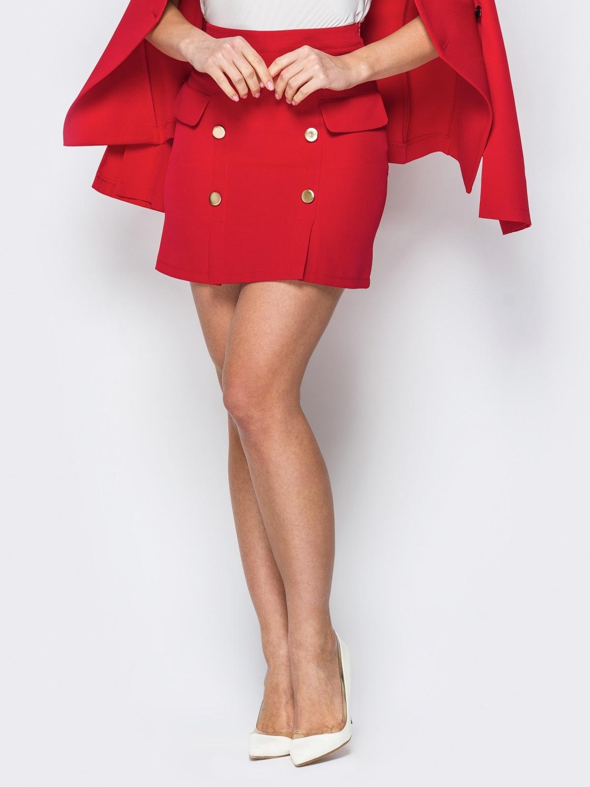 Красная юбка-мини с декоративными клапанами - 19771, фото 1 – интернет-магазин Dressa