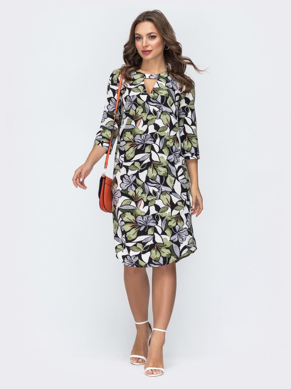 Платье с принтом и закругленным низом 45430, фото 1
