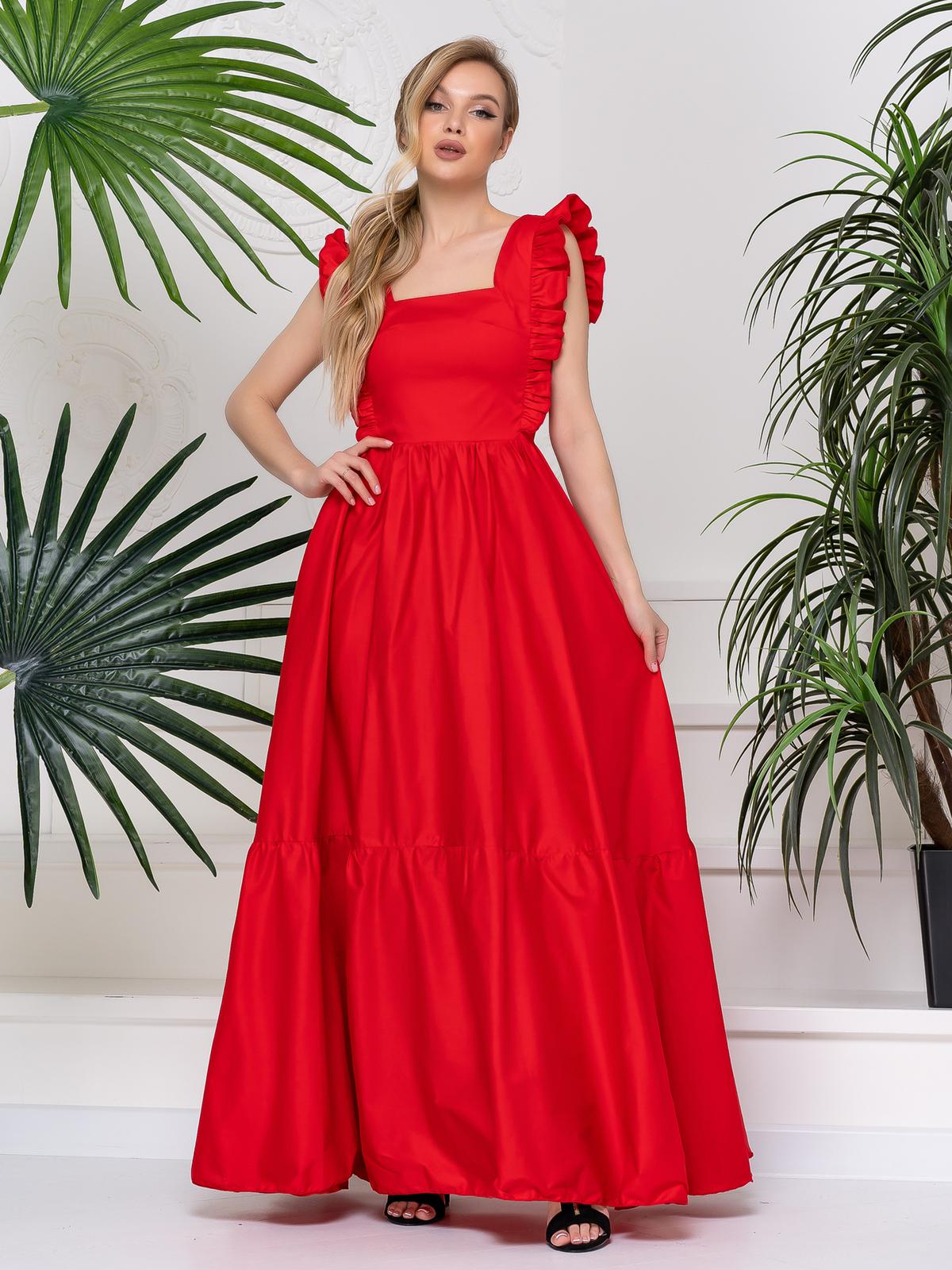 Платье с квадратным вырезом и расклешенной юбкой красное 48783, фото 1