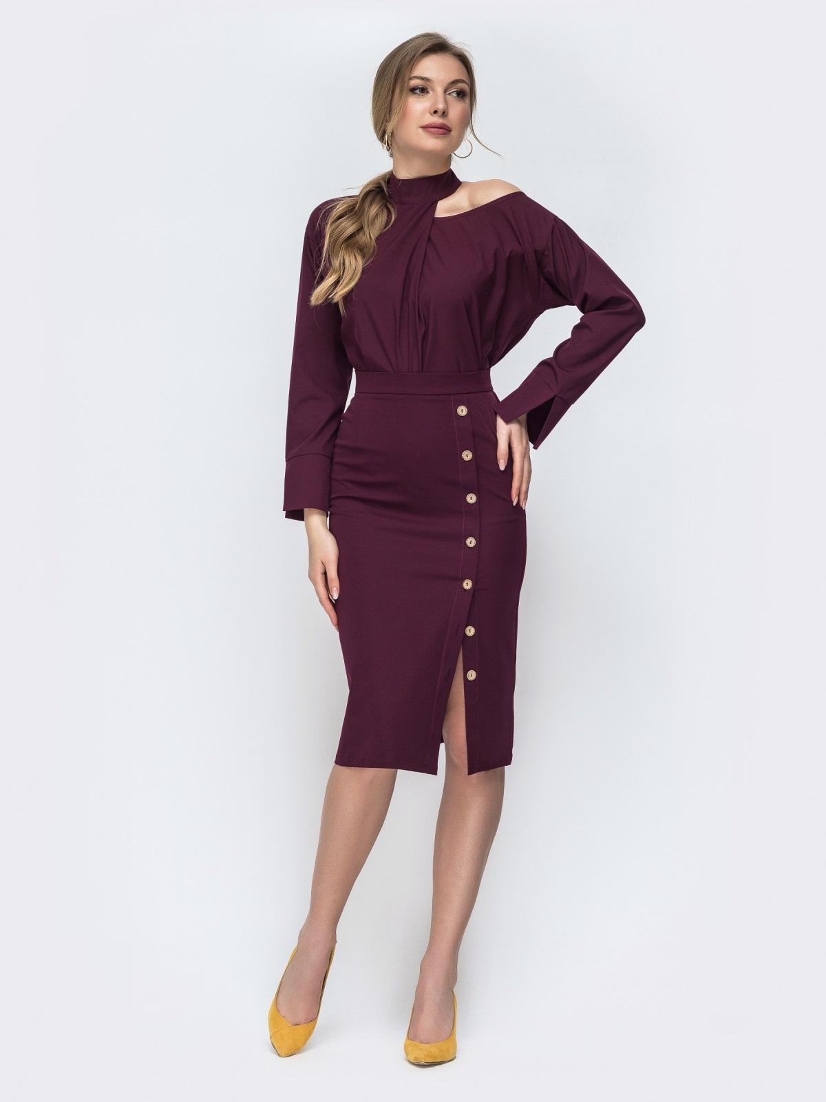 Бордовый комплект из блузки и юбки-карандаш 45653, фото 1