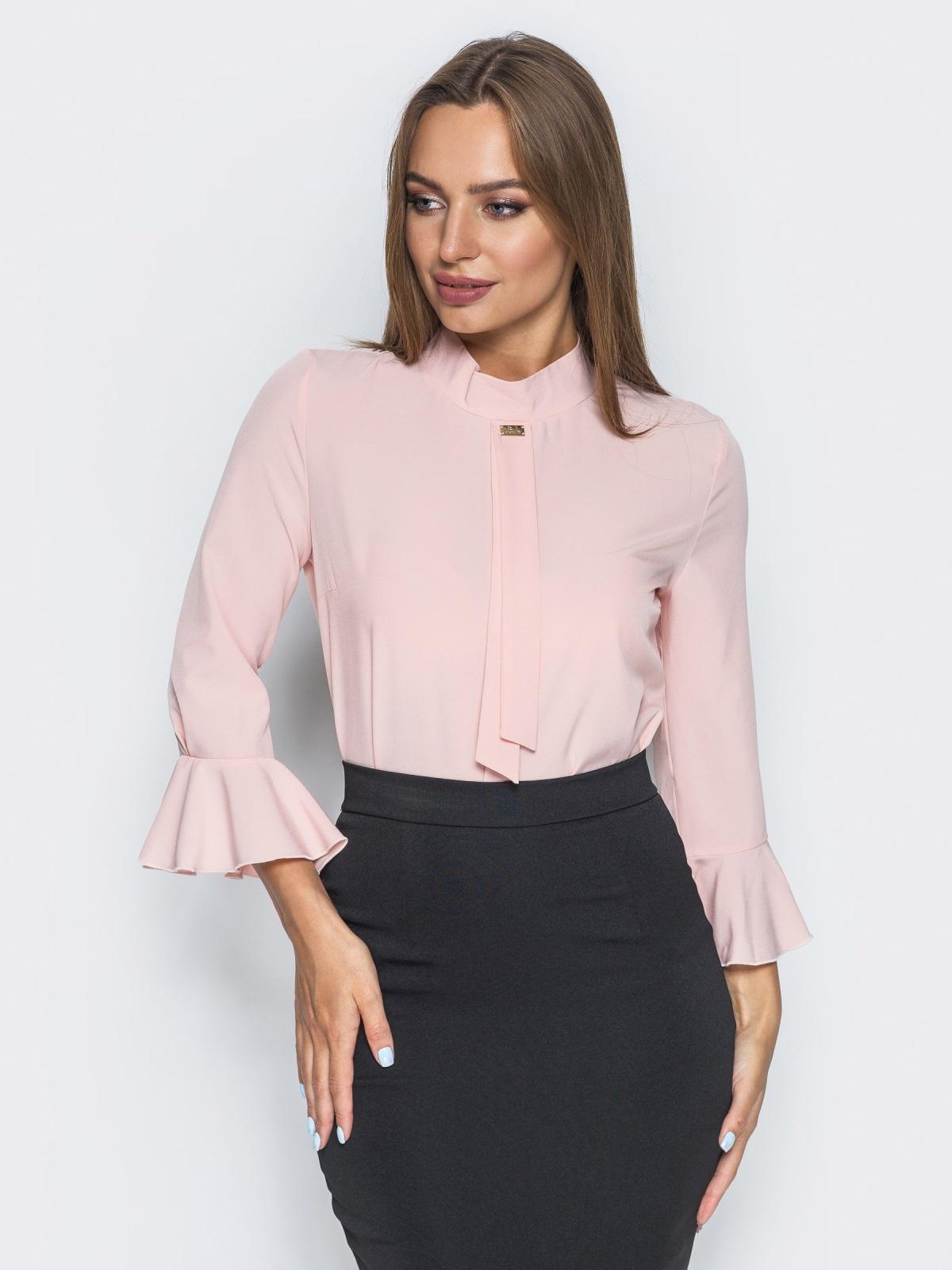 Пудровая блузка с имитацией галстука - 13241, фото 2 – интернет-магазин Dressa