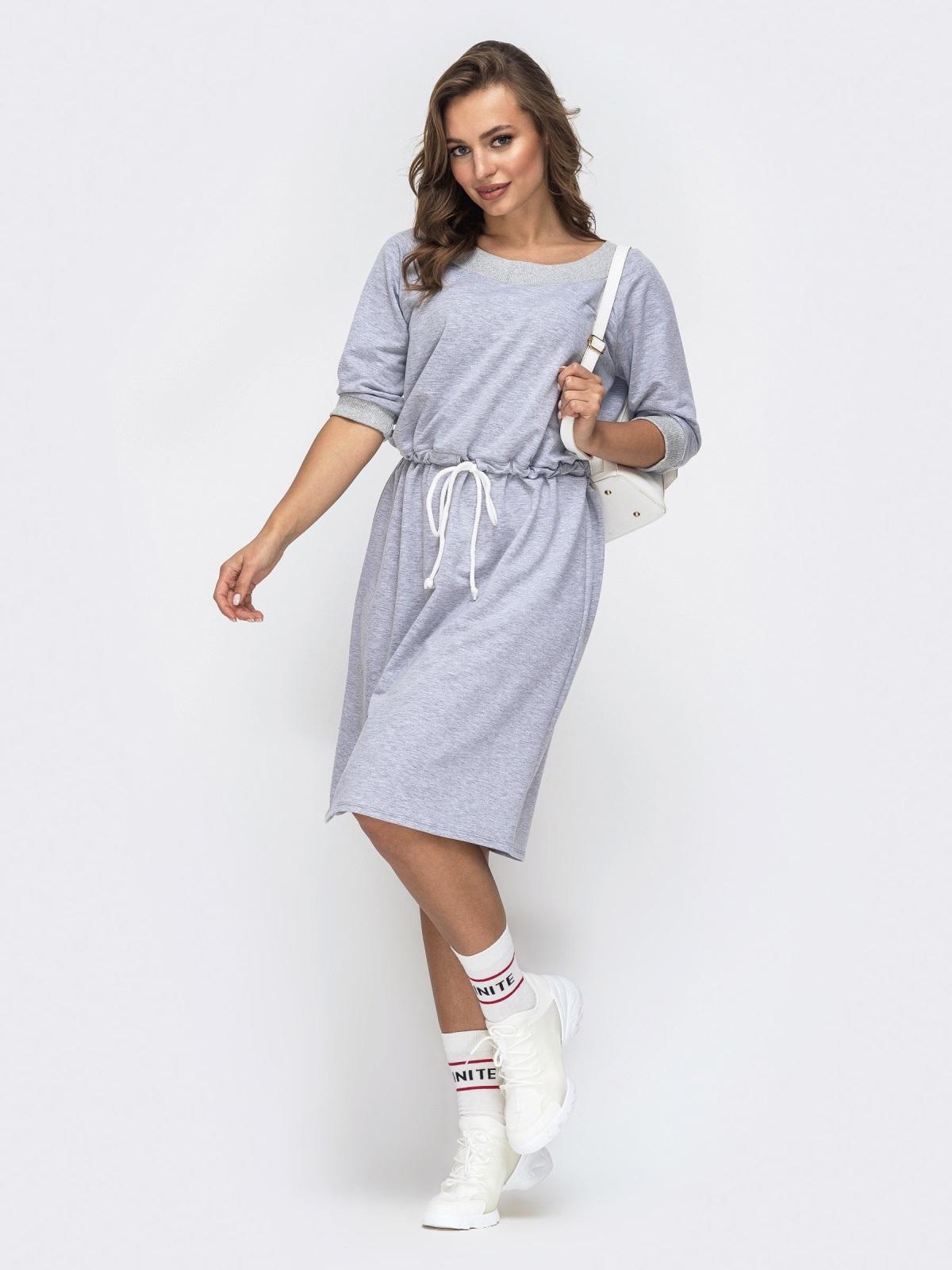 Спортивное платье с кулиской по талии серое 45658, фото 1