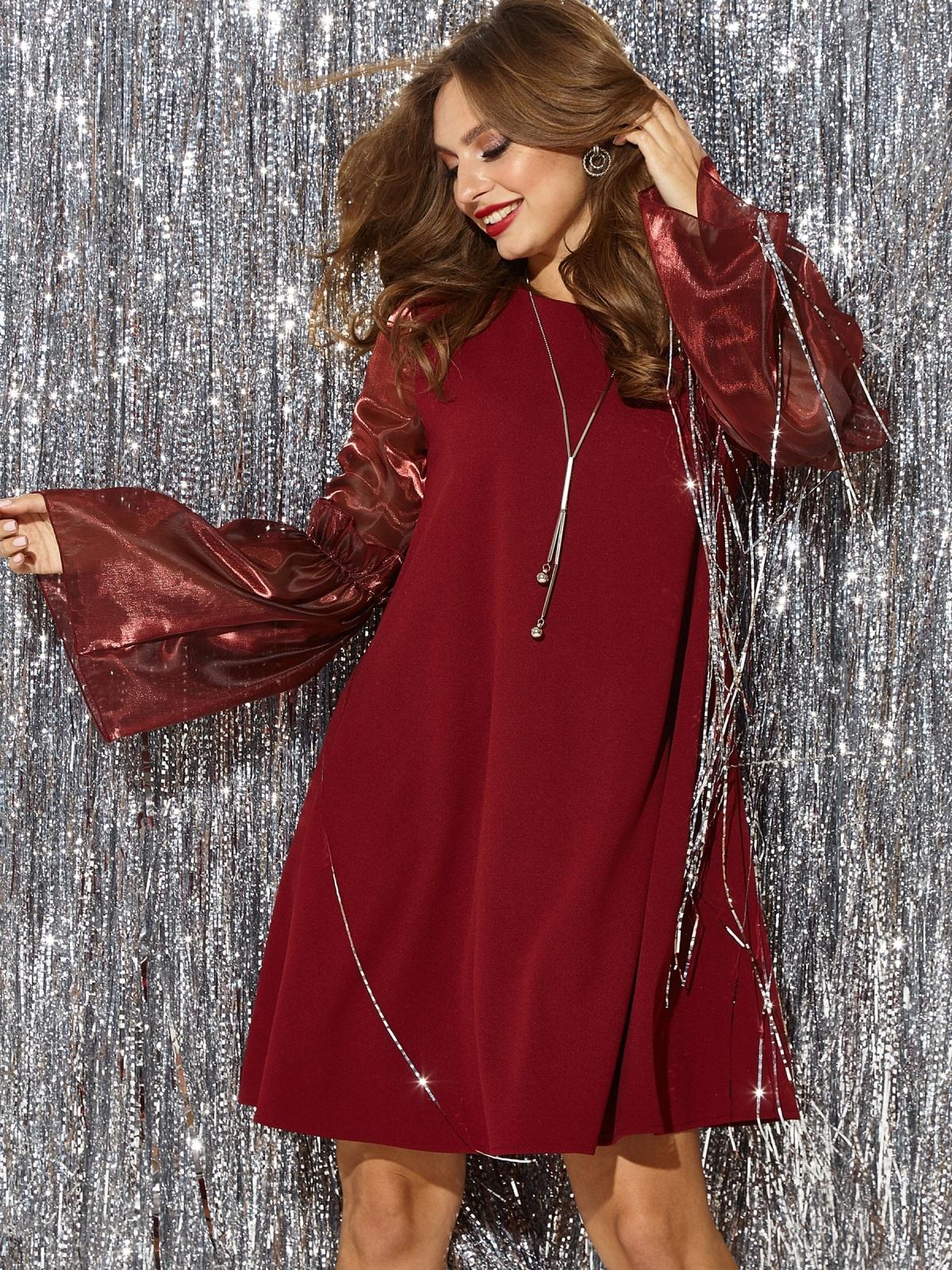 """Бордовое платье с рукавом """"колокол"""" и оборкой 42996, фото 1"""