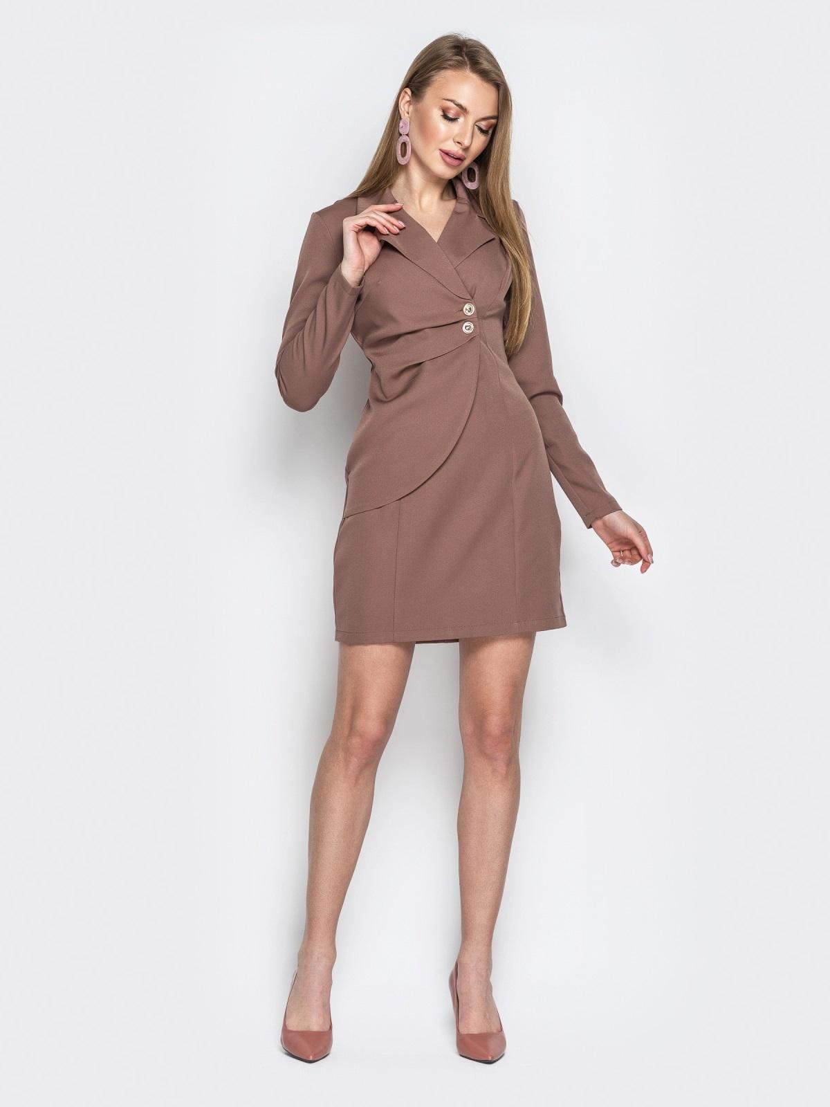Бежевое платье-пиджак асимметричными вставками - 20378, фото 1 – интернет-магазин Dressa