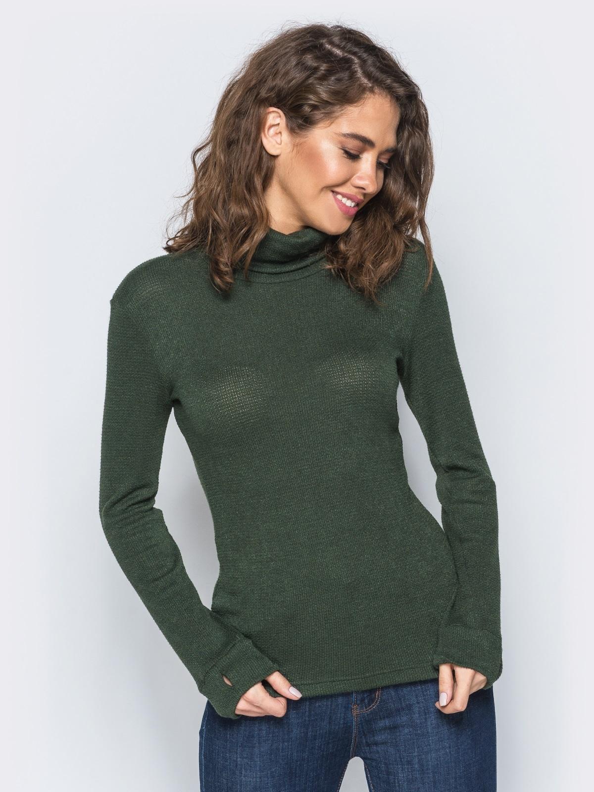 Гольф зелёного цвета с объёмным воротником - 17369, фото 1 – интернет-магазин Dressa