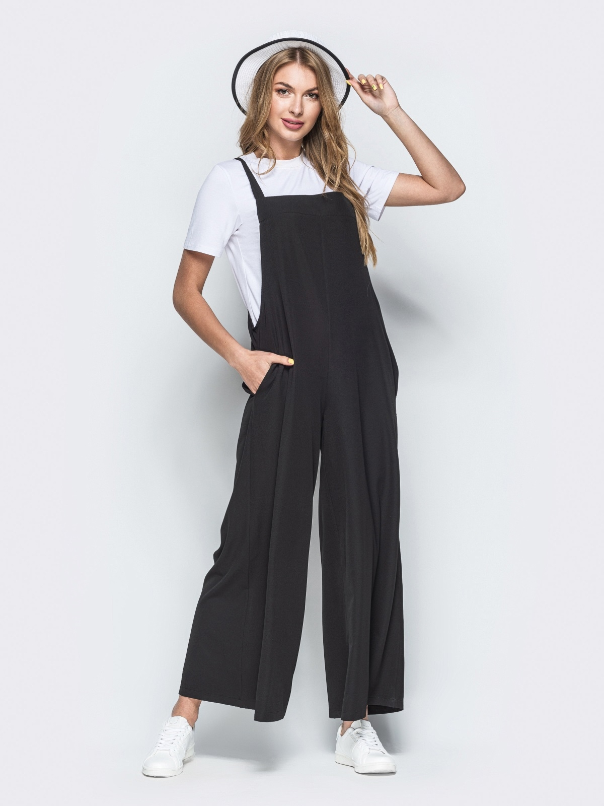 Комбинезон в стиле oversize с брюками-кюлотами чёрный 38464, фото 1