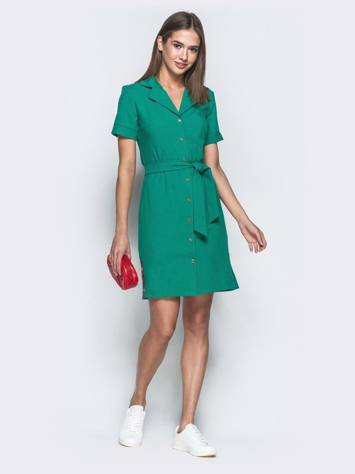 Льняное платье-рубашка в стиле casual зеленое - 38965, фото 1 – интернет-магазин Dressa