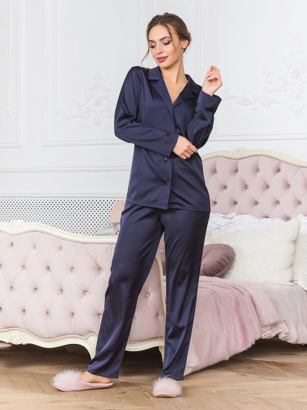 Тёмно-синяя пижама с рубашкой и брюками - 18952, фото 1 – интернет-магазин Dressa