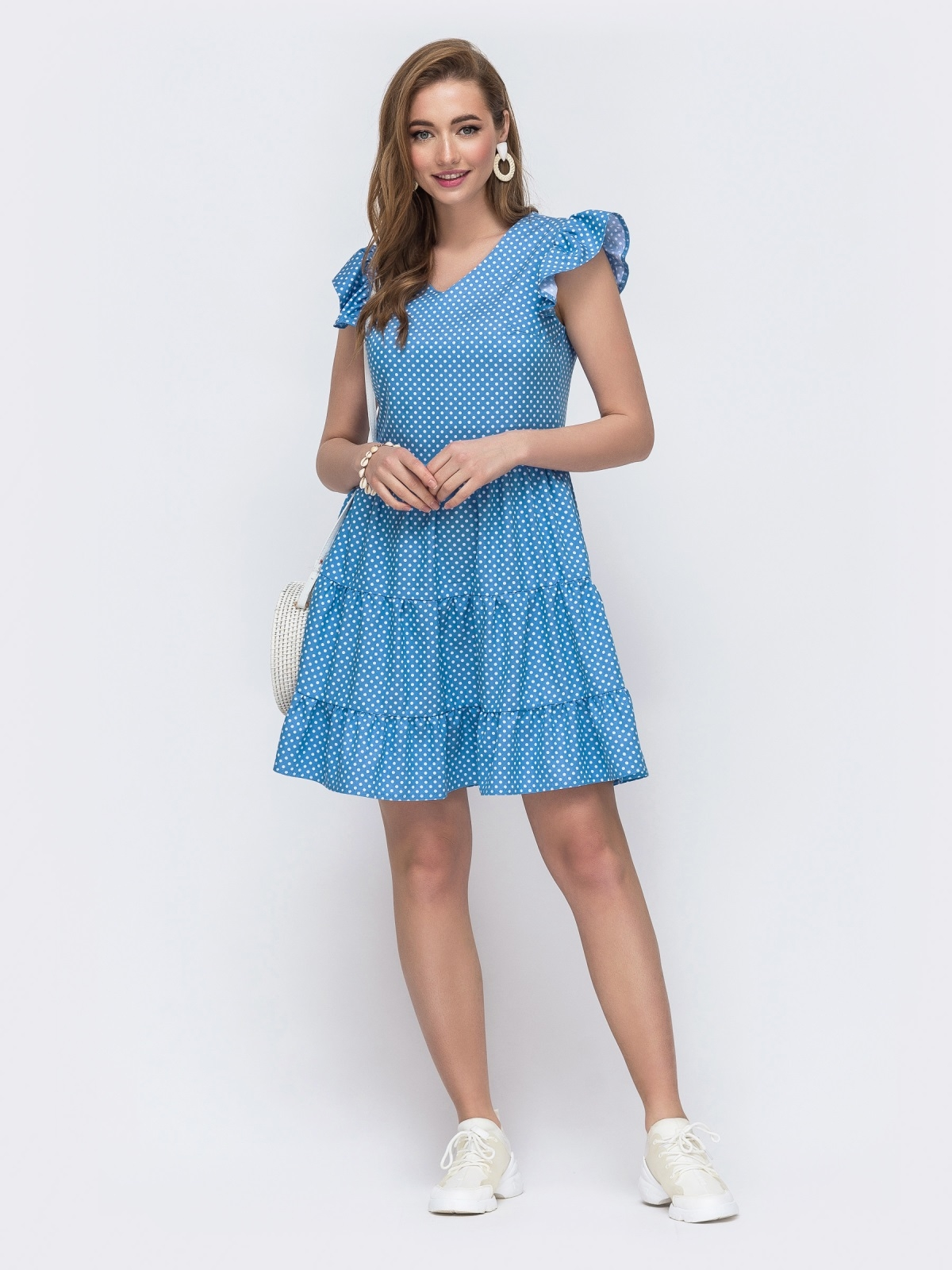 Джинсовое платье в горошек с расклешенной юбкой голубое 48590, фото 1