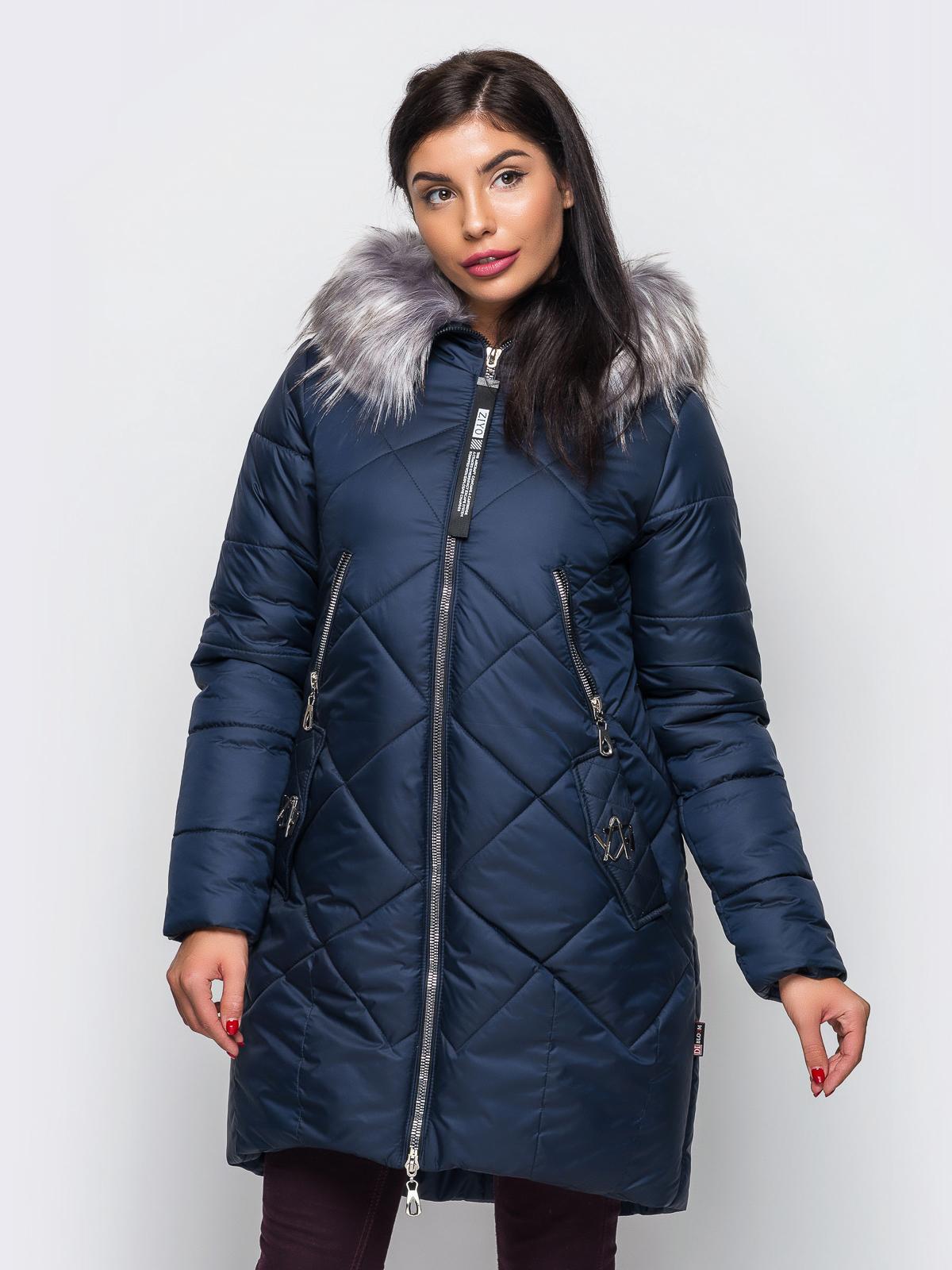 Зимняя куртка тёмно-синего цвета с отстегивающимся мехом - 15211, фото 1 – интернет-магазин Dressa