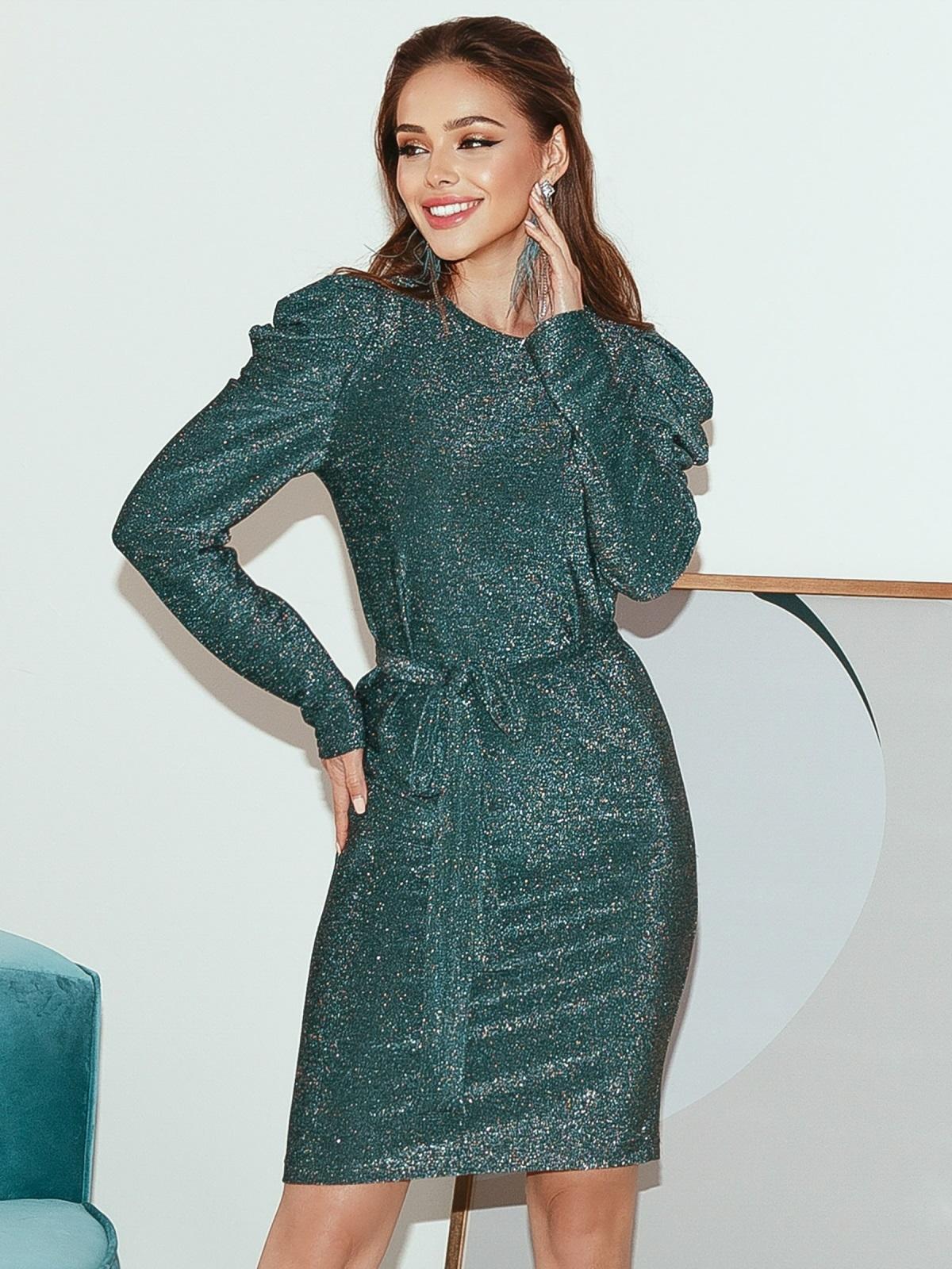 Платье-миди с люрексом и буфами на рукавах зеленое 51973, фото 1