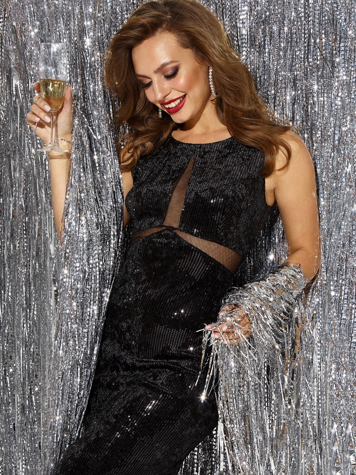 Велюровое платье с пайетками и вставками из сетки чёрное - 42794, фото 1 – интернет-магазин Dressa
