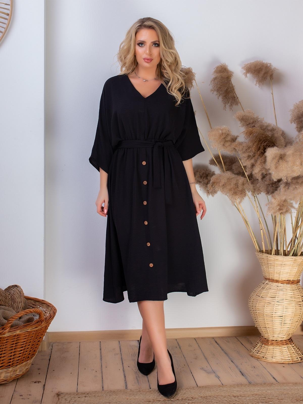 Платье батал с резинкой по талии чёрное 46467, фото 1