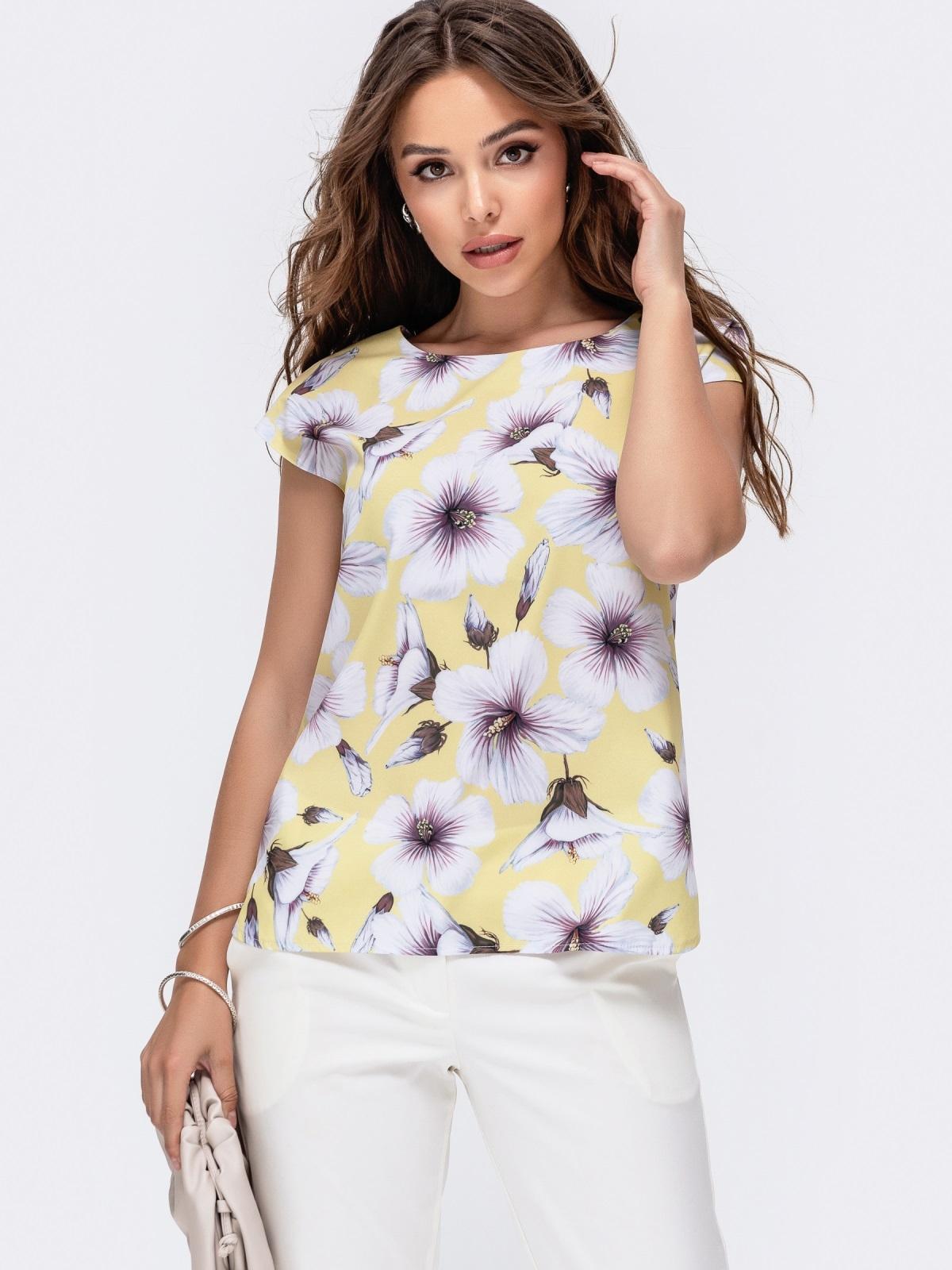 Желтаяблузкас цветочным принтом 48321, фото 1