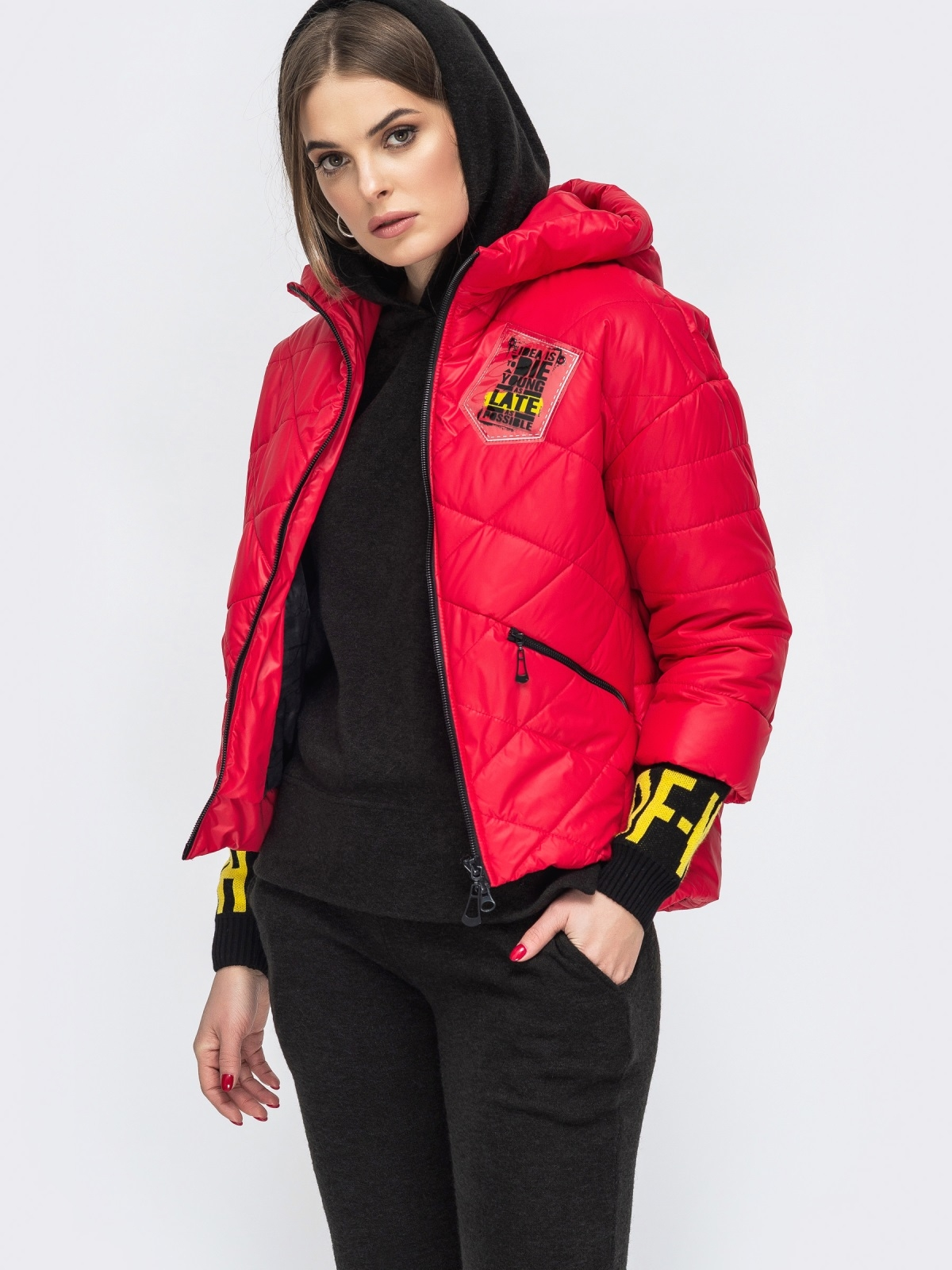 Укороченная куртка с трикотажными манжетами красная 45167, фото 1