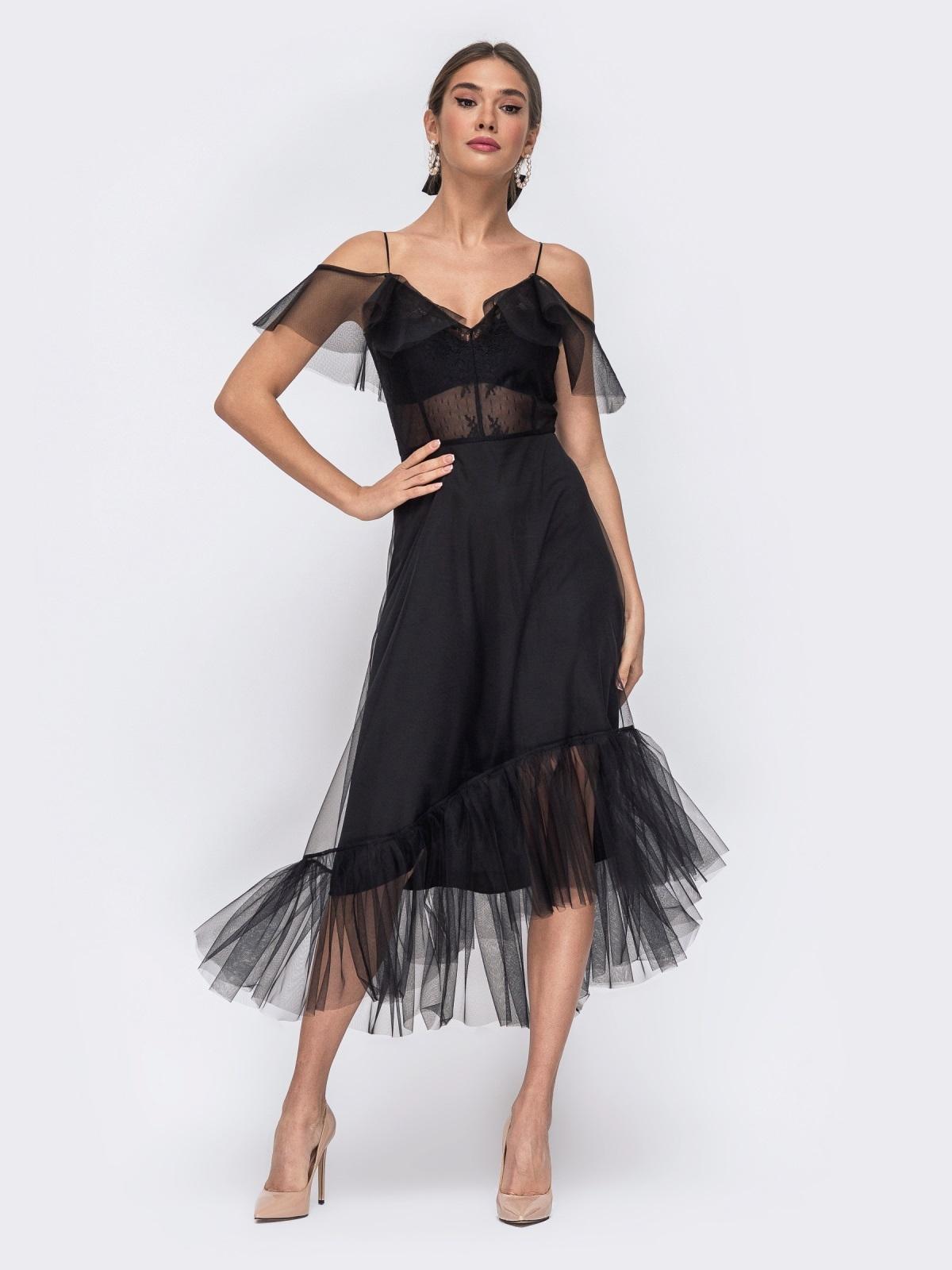 Чёрное платье с открытыми плечами и асимметричным низом - 43091, фото 1 – интернет-магазин Dressa