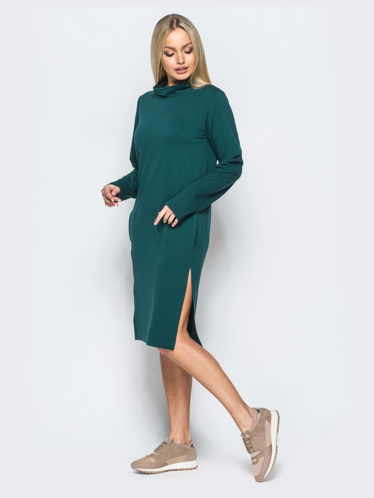 Платье из двунитки со змейкой на спинке зелёное - 17420, фото 1 – интернет-магазин Dressa