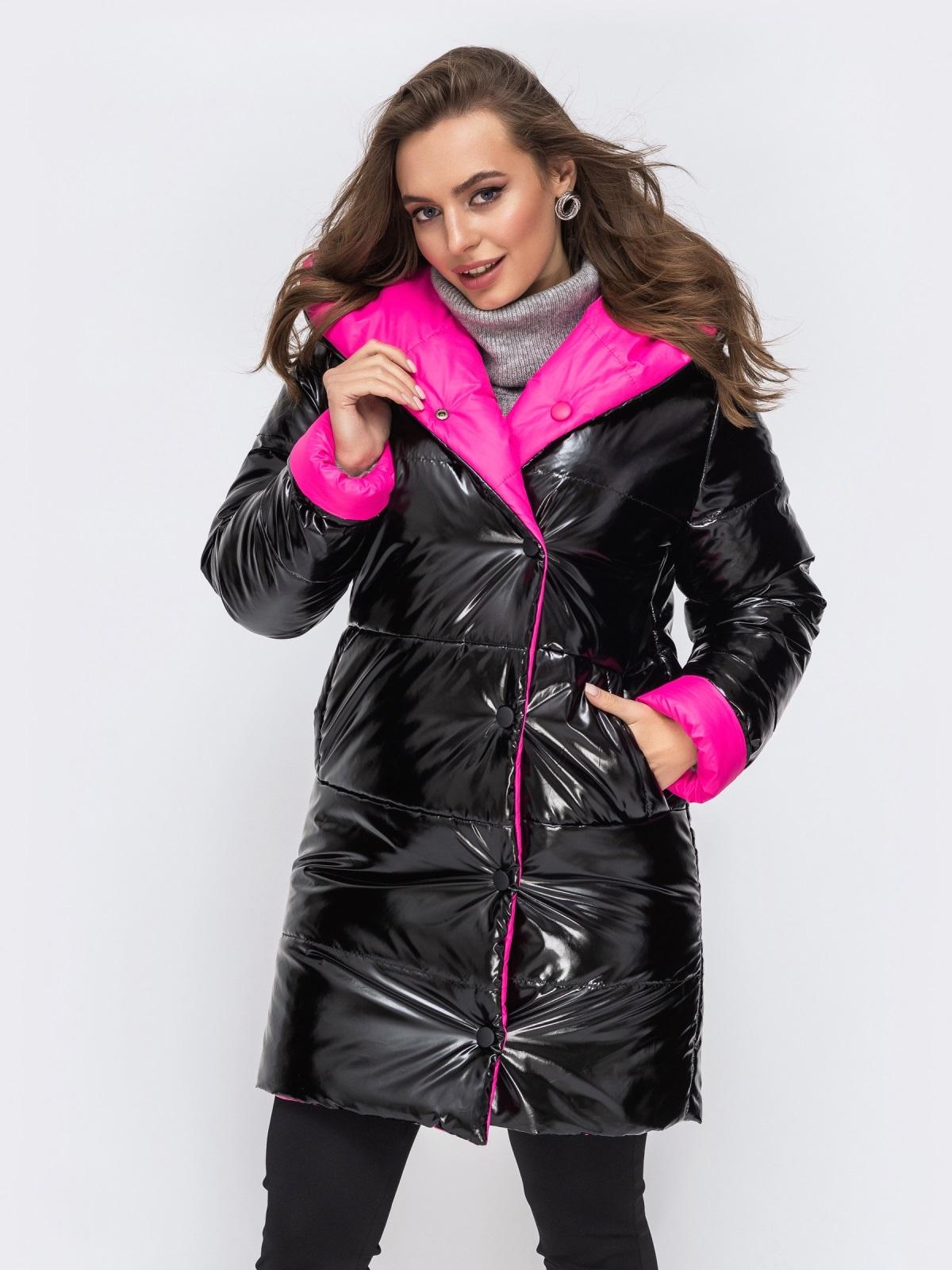 Двухсторонняя куртка из лакированной плащевски чёрная - 43181, фото 1 – интернет-магазин Dressa