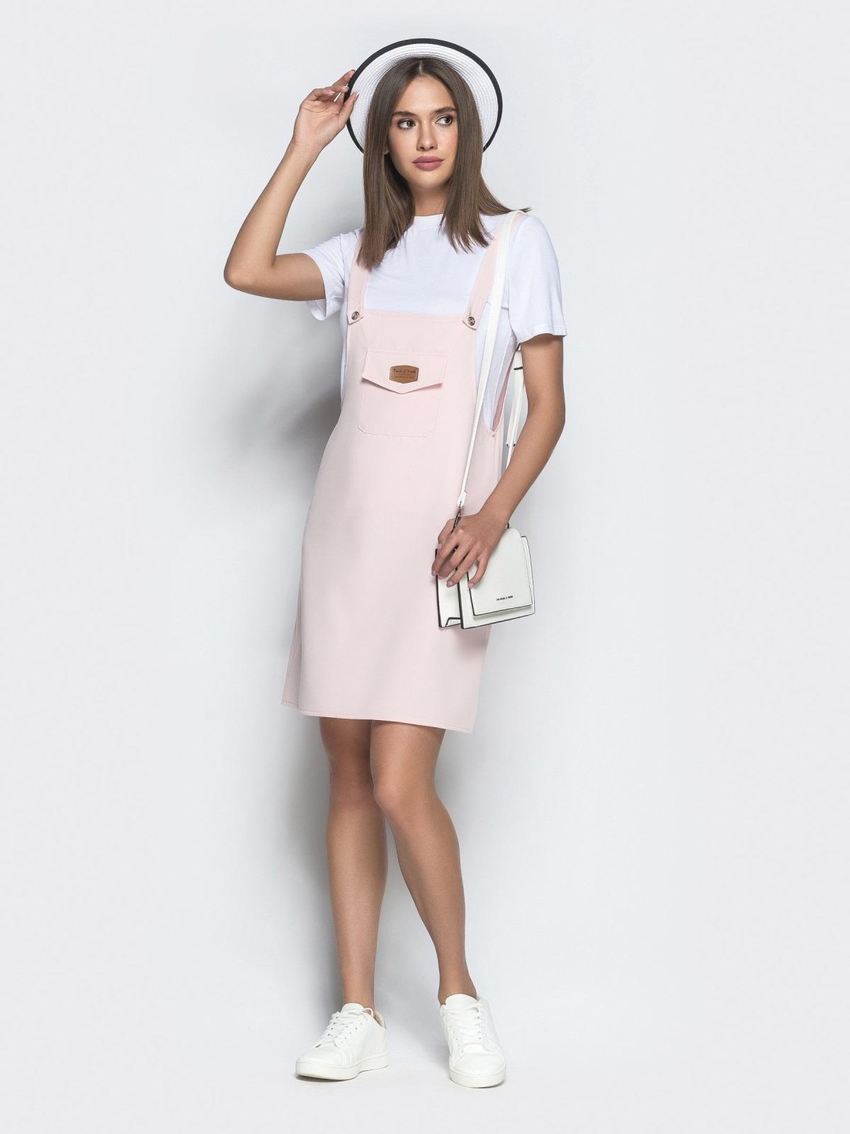 Пудровый сарафан-мини с накладным карманом - 39407, фото 1 – интернет-магазин Dressa