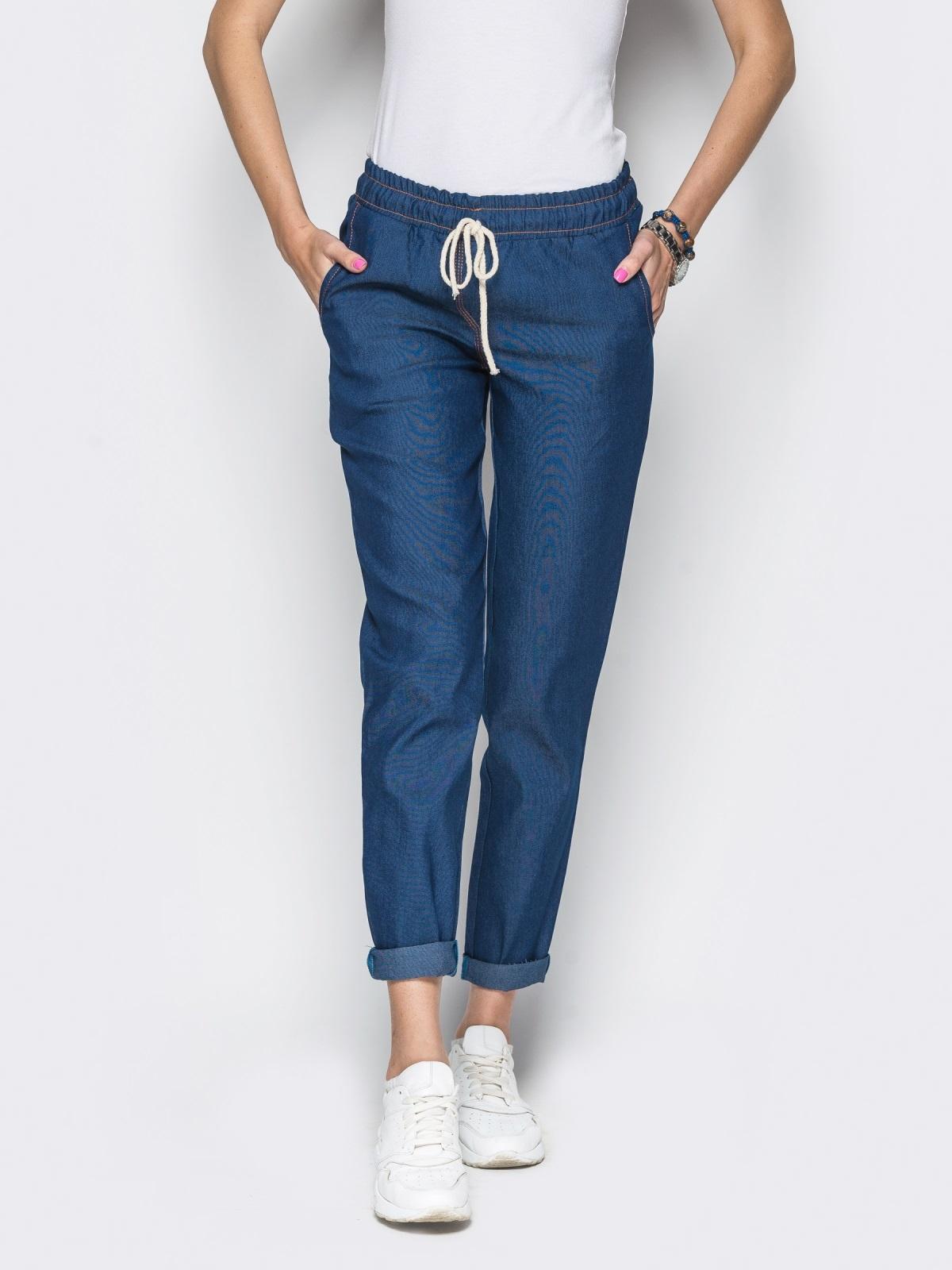 Хлопковые брюки со шнурком тёмно-синие - 10295, фото 2 – интернет-магазин Dressa