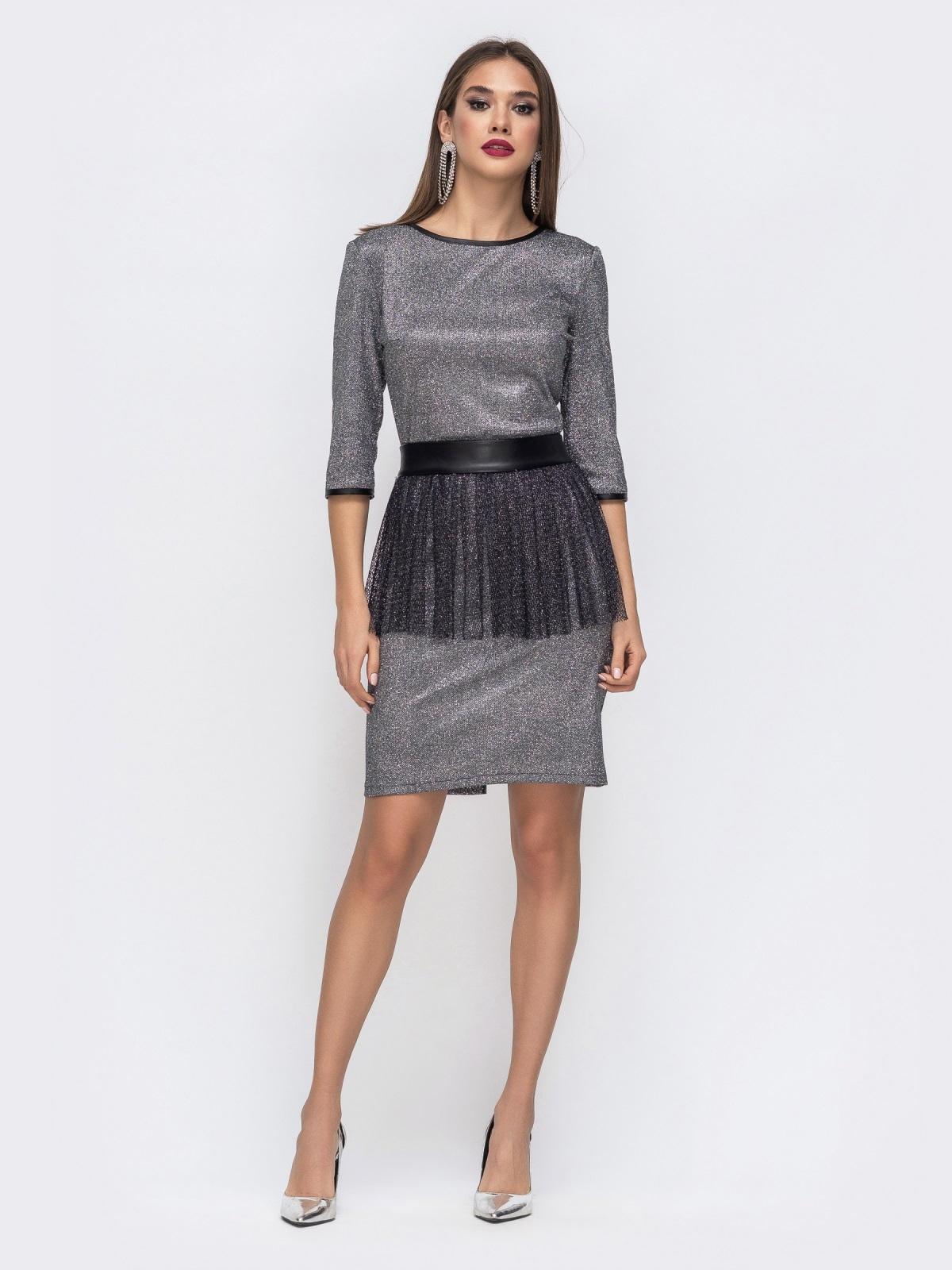 Платье с люрексом со съемной баской из сетки - 43035, фото 1 – интернет-магазин Dressa