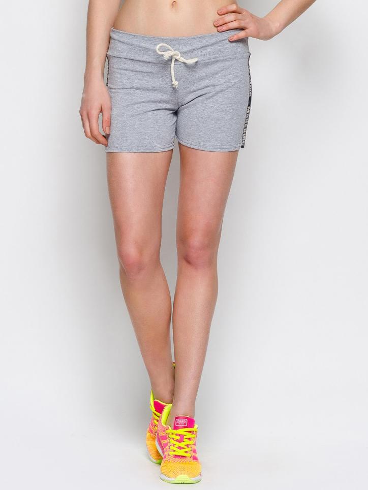 Серые шорты с надписью на лампасах - 12871, фото 1 – интернет-магазин Dressa