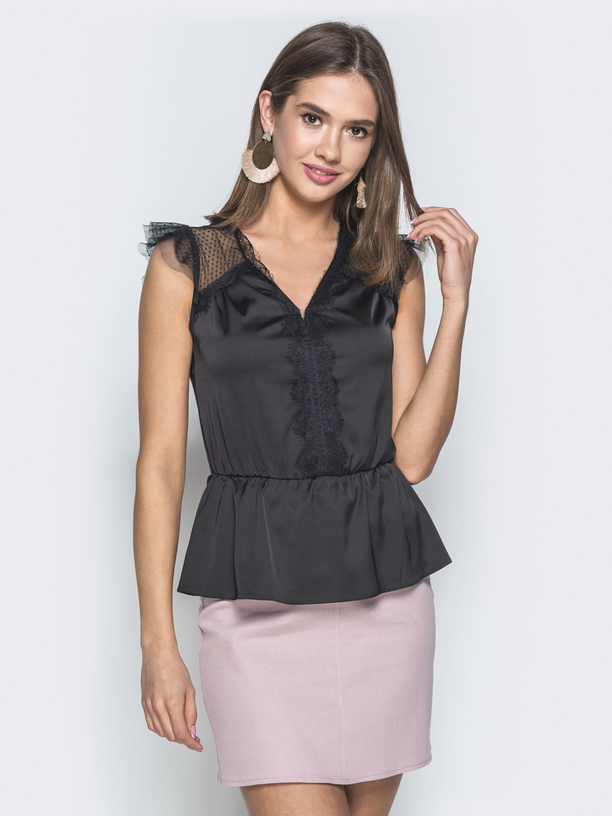 Шелковая блузка с фатиновыми вставками на плечах чёрная - 38460, фото 1 – интернет-магазин Dressa