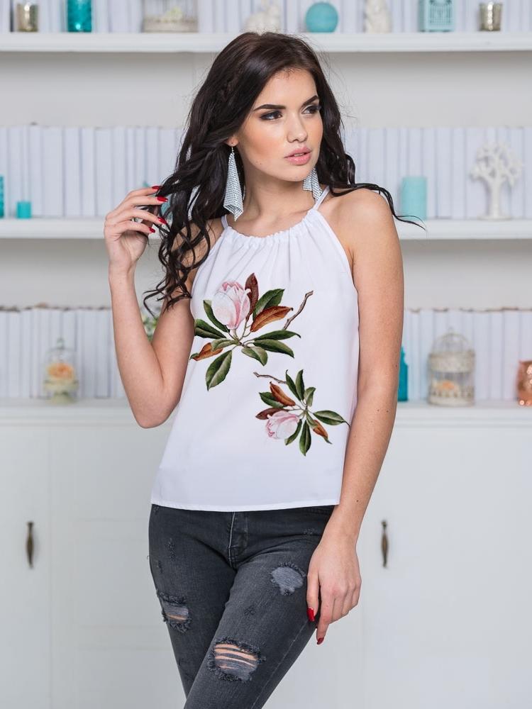 Топ с цветочным принтом на регулируемой завязке по горловине - 22117, фото 1 – интернет-магазин Dressa