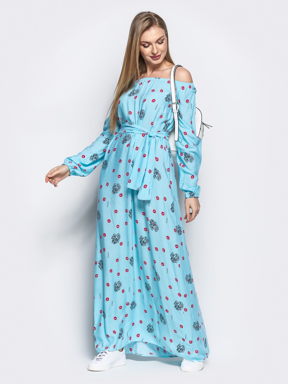 Платье-трапеция с принтом и открытыми плечами голубое - 21919, фото 1 – интернет-магазин Dressa
