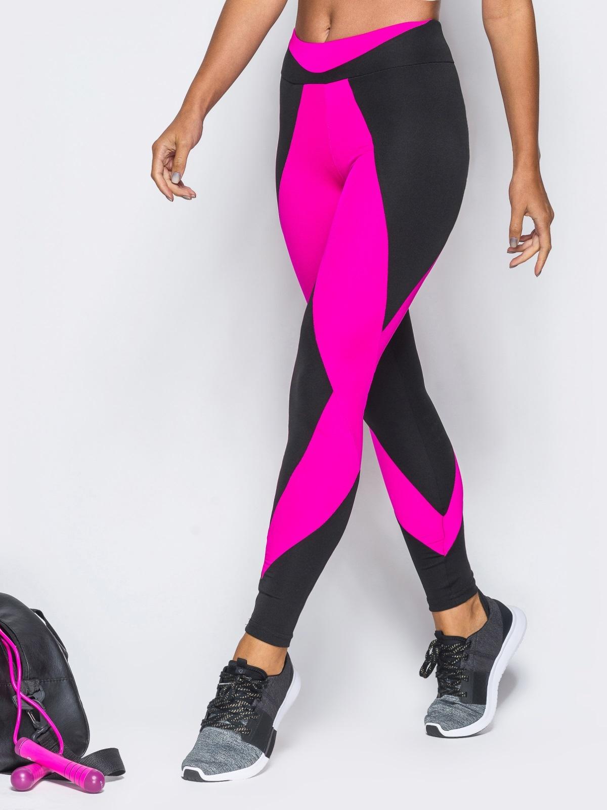 Спортивные лосины с широким поясом и розовыми вставками - 17190, фото 1 – интернет-магазин Dressa