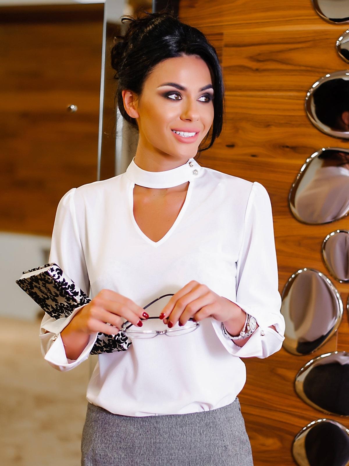 Блузка с имитацией чокера и рукавом 3/4 - 10228, фото 1 – интернет-магазин Dressa