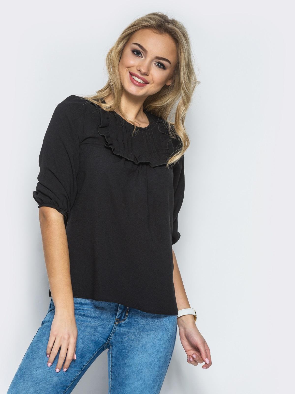 Черная креп-шифоновая блузка со сборкой на полочке - 13294, фото 1 – интернет-магазин Dressa
