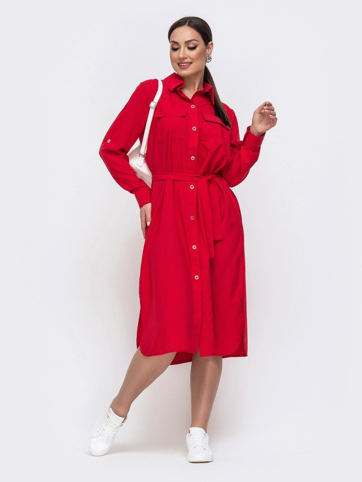 Красное платье-рубашка большого размера со шлевками на рукавах 46396, фото 1
