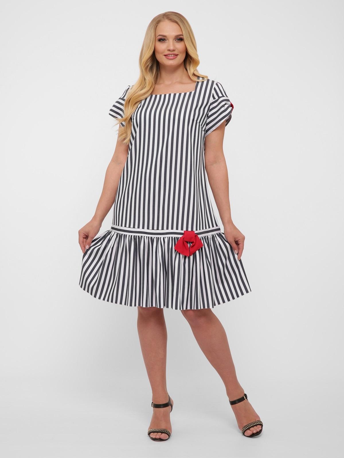 Платье-трапеция большого размера цвета графит в полоску  48573, фото 1