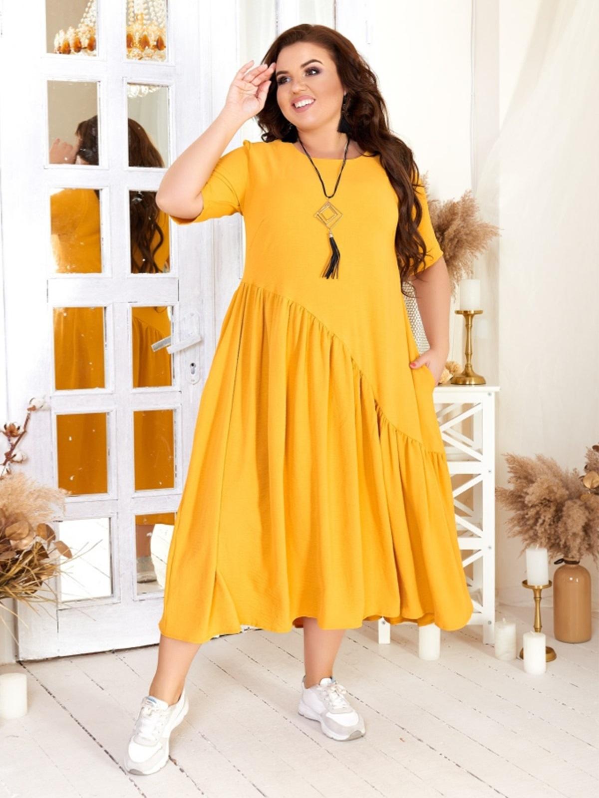 Свободное платье бльшого размера желтое 47570, фото 1