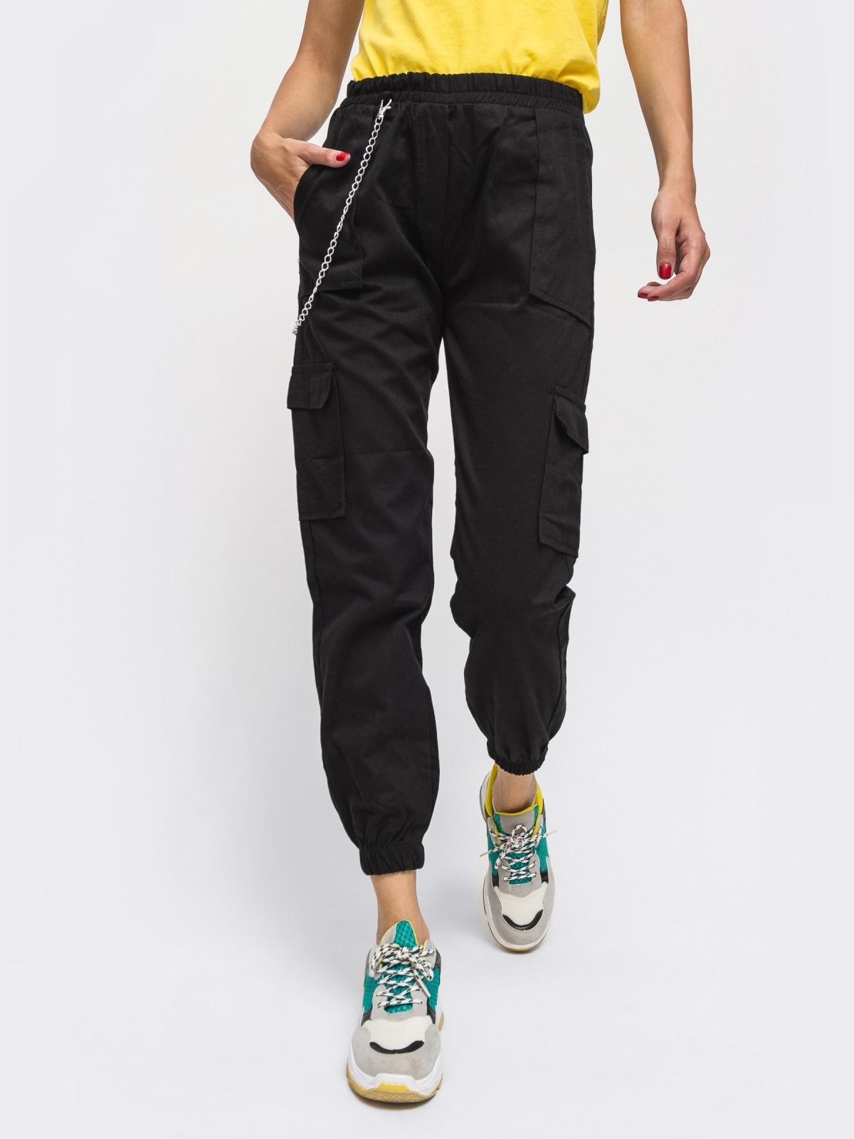 Джинсы с накладными карманами и резинкой по талии чёрные - 41899, фото 1 – интернет-магазин Dressa