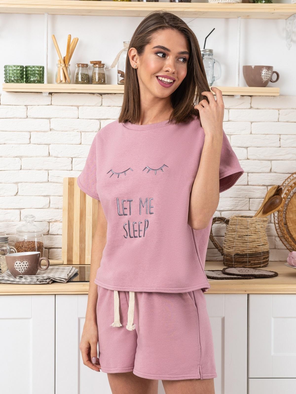"""Розовая пижама с авторским принтом """"ресницы"""" - 20464, фото 1 – интернет-магазин Dressa"""