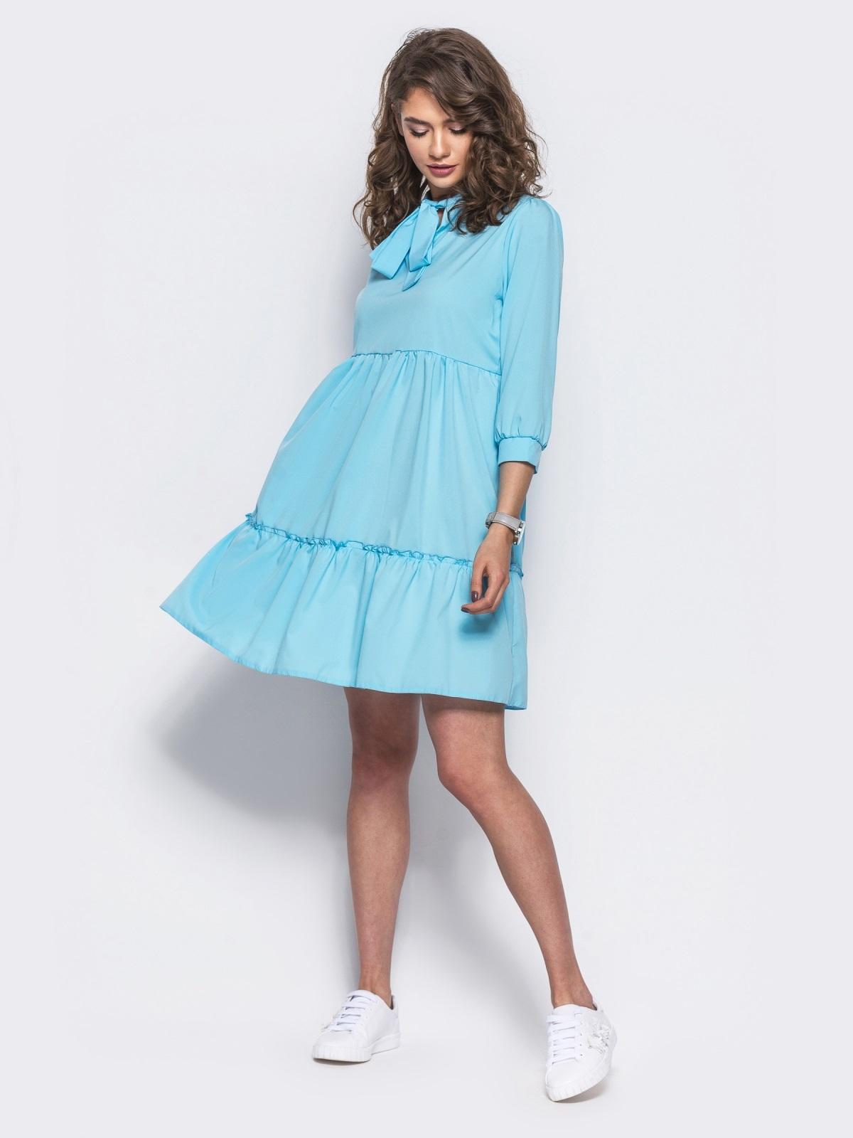 Голубое двухъярусное платье с бантом по горловине - 11704, фото 1 – интернет-магазин Dressa