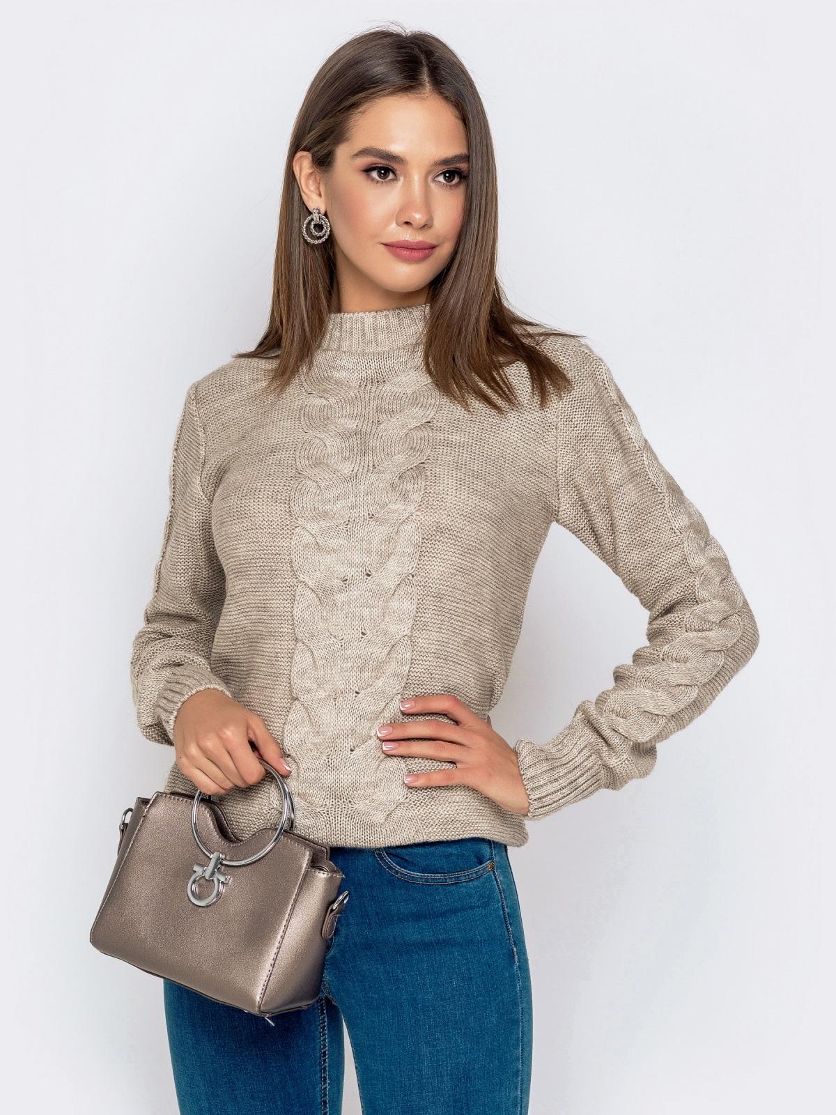 Бежевый свитер с ажурной вязкой - 41074, фото 1 – интернет-магазин Dressa