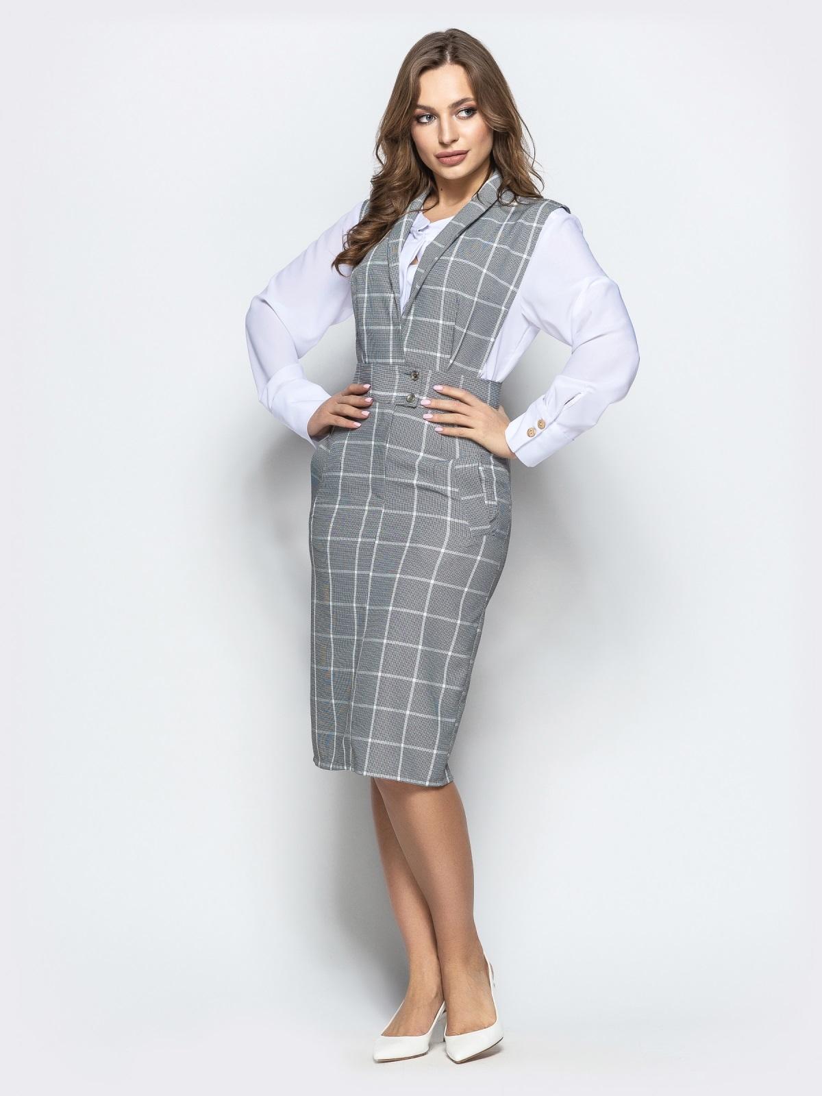Клетчатый сарафан серого цвета из костюмной ткани - 22024, фото 1 – интернет-магазин Dressa