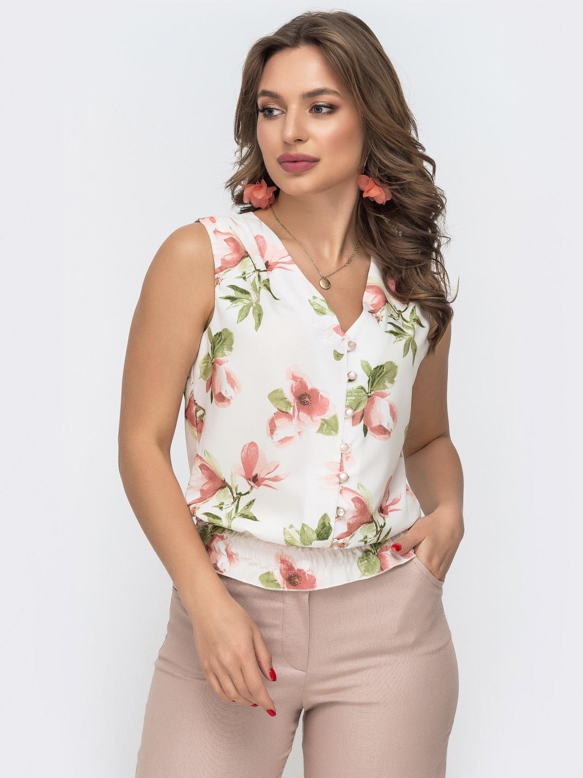 Белая блузка с принтом и вафельной оборкой по низу - 46891, фото 1 – интернет-магазин Dressa